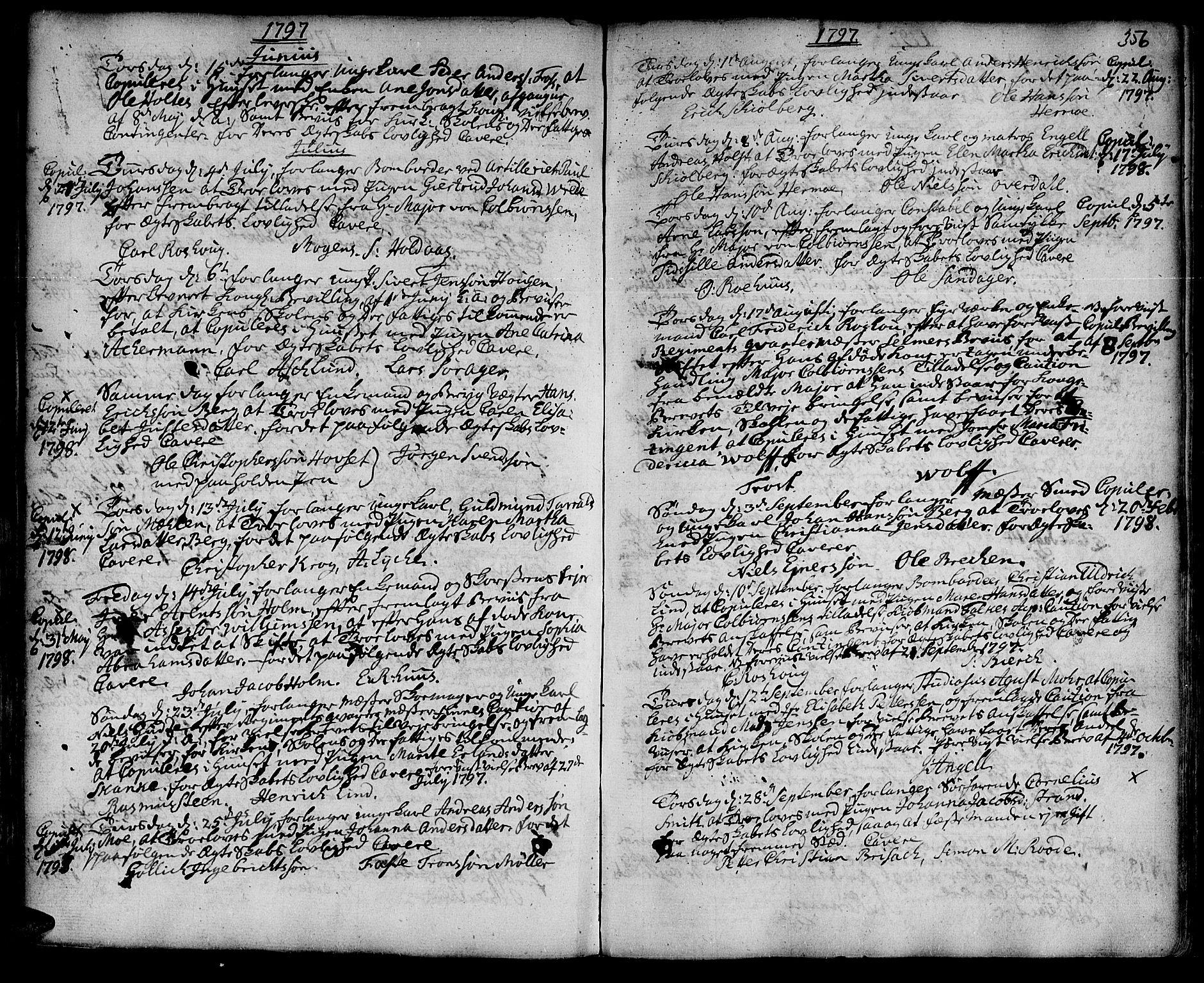 SAT, Ministerialprotokoller, klokkerbøker og fødselsregistre - Sør-Trøndelag, 601/L0038: Ministerialbok nr. 601A06, 1766-1877, s. 356a