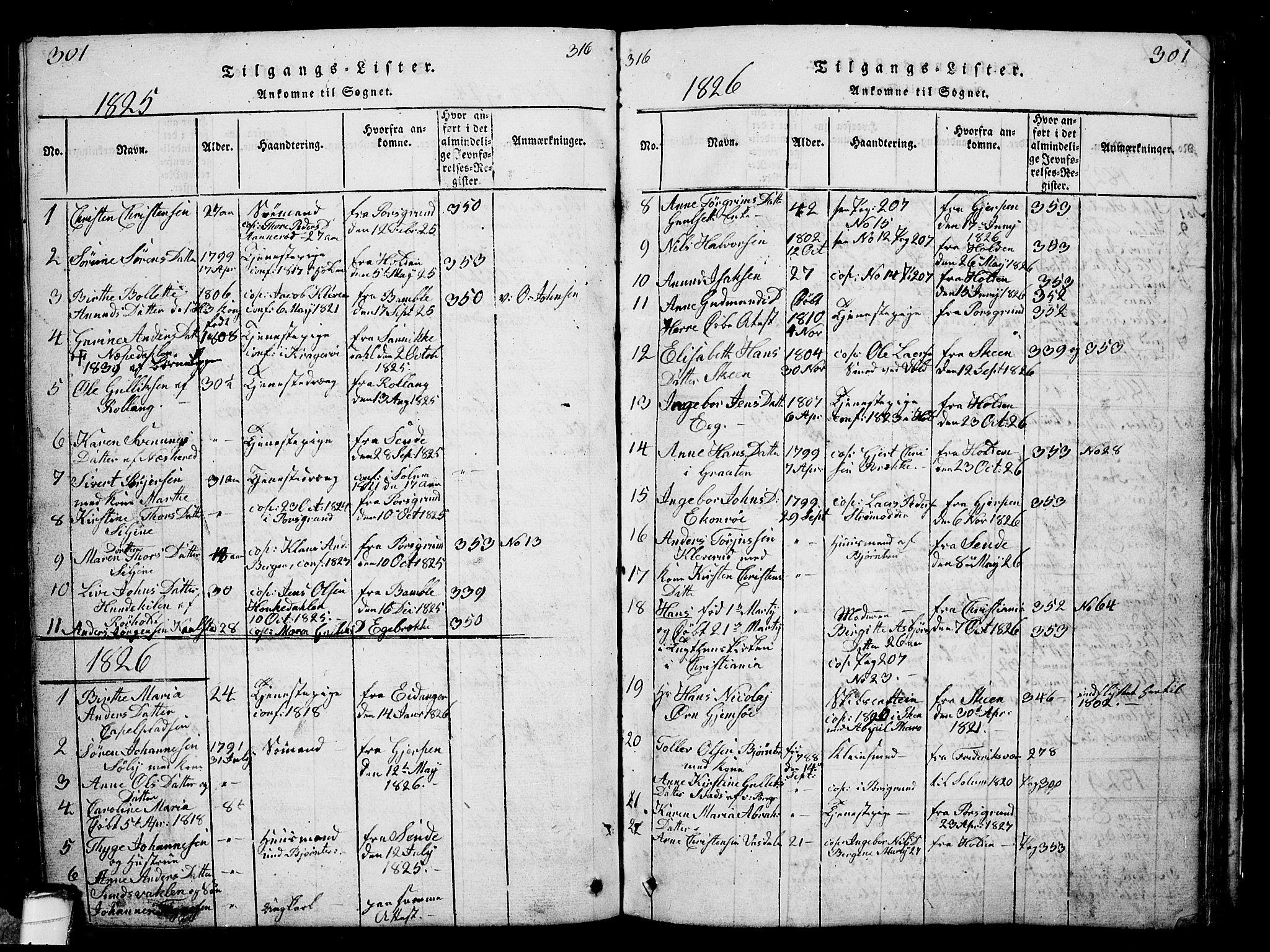 SAKO, Solum kirkebøker, G/Ga/L0001: Klokkerbok nr. I 1, 1814-1833, s. 301