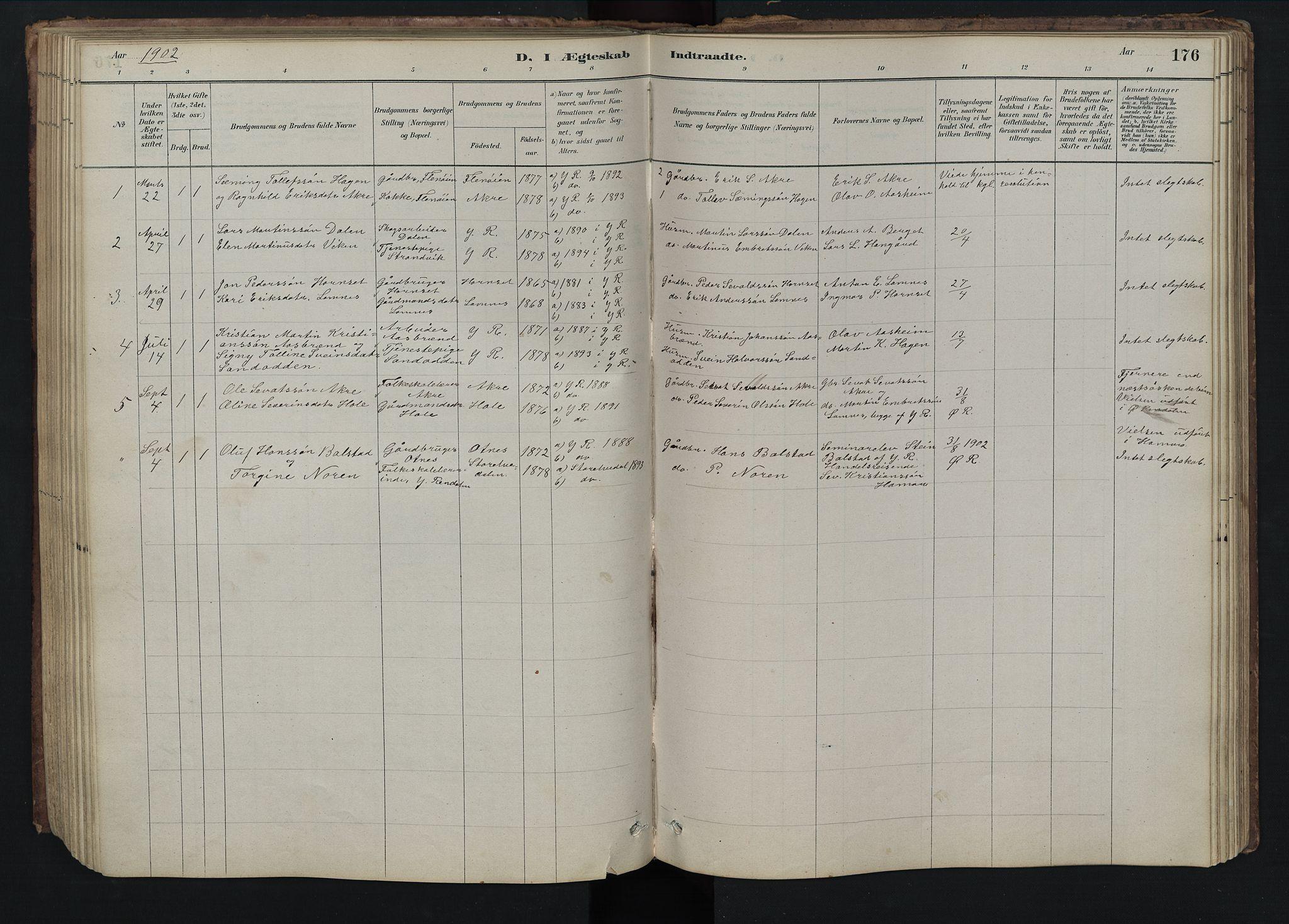 SAH, Rendalen prestekontor, H/Ha/Hab/L0009: Klokkerbok nr. 9, 1879-1902, s. 176