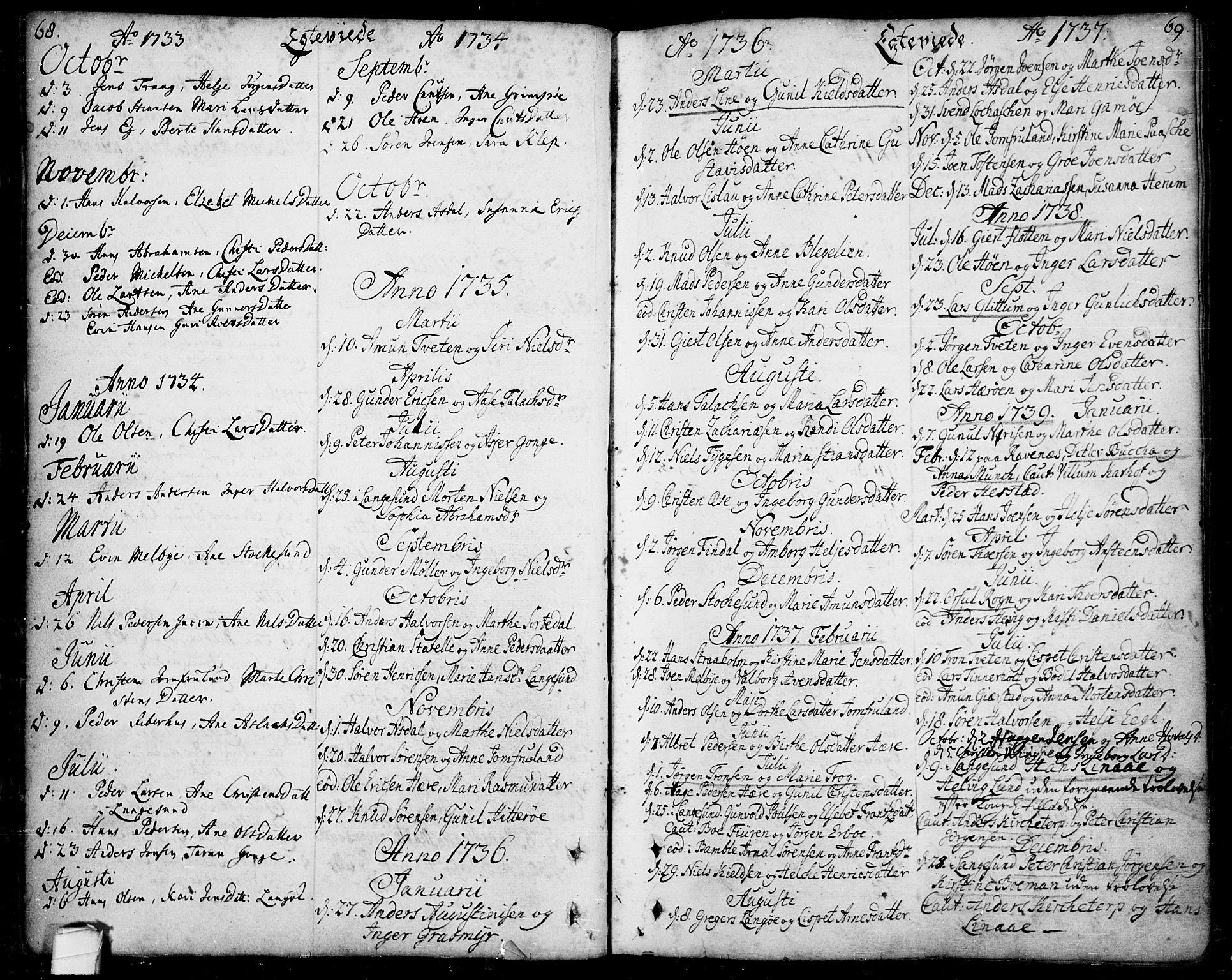 SAKO, Bamble kirkebøker, F/Fa/L0001: Ministerialbok nr. I 1, 1702-1774, s. 68-69