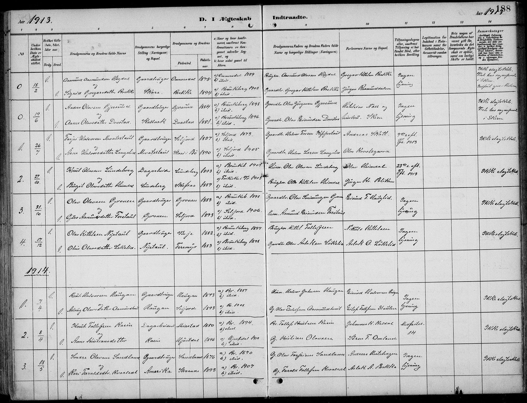 SAKO, Kviteseid kirkebøker, F/Fb/L0002: Ministerialbok nr. II 2, 1882-1916, s. 188