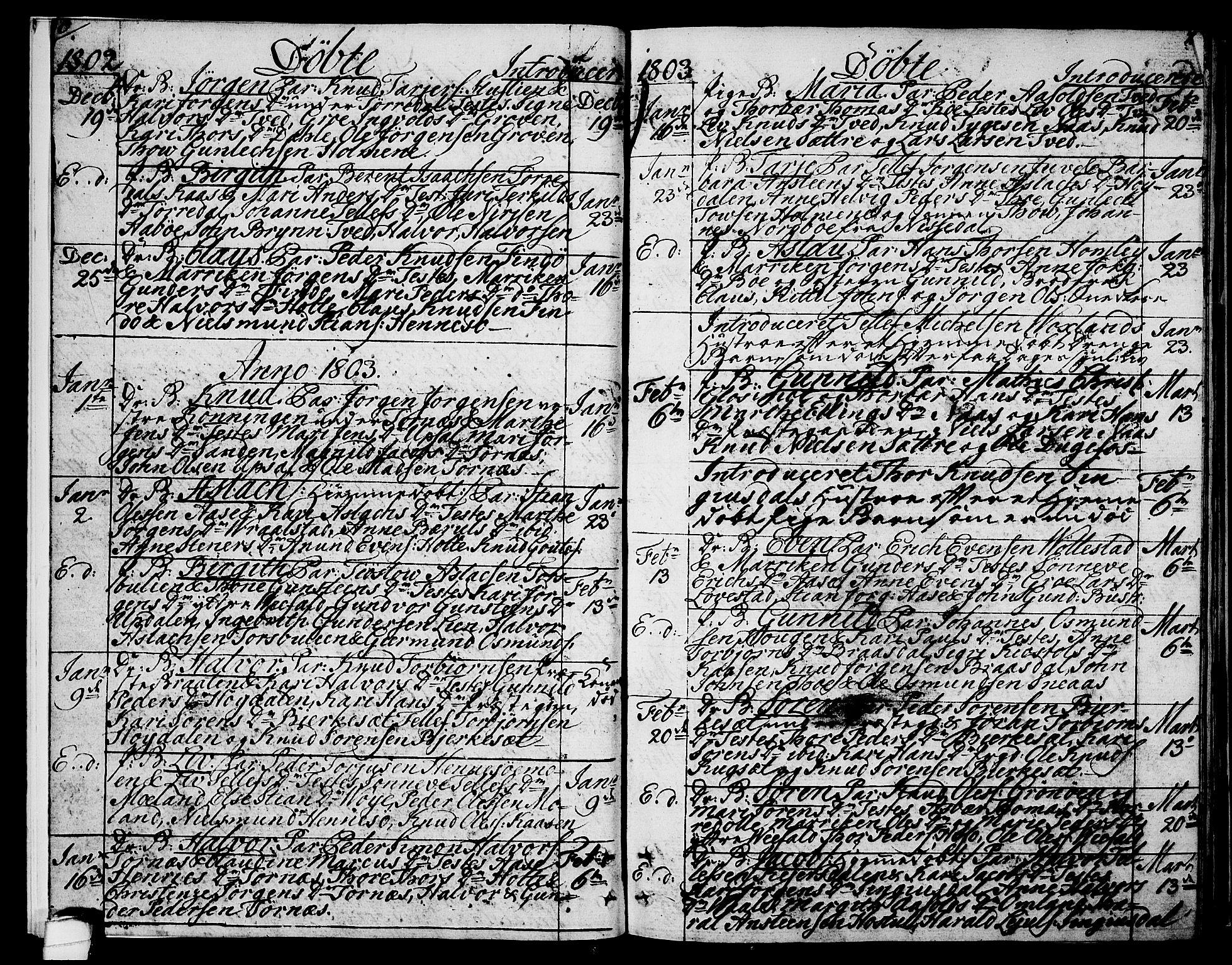 SAKO, Drangedal kirkebøker, F/Fa/L0004: Ministerialbok nr. 4, 1802-1814, s. 6-7