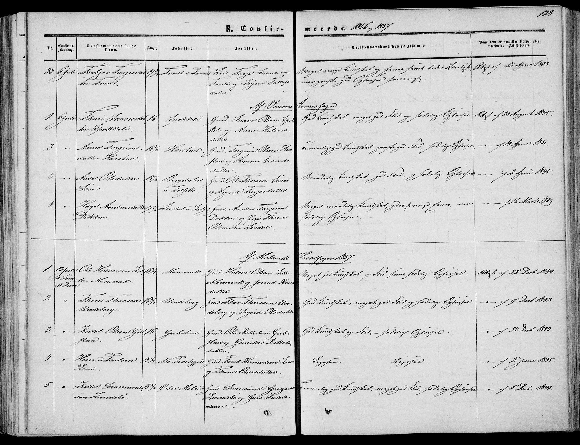 SAKO, Fyresdal kirkebøker, F/Fa/L0005: Ministerialbok nr. I 5, 1855-1871, s. 128