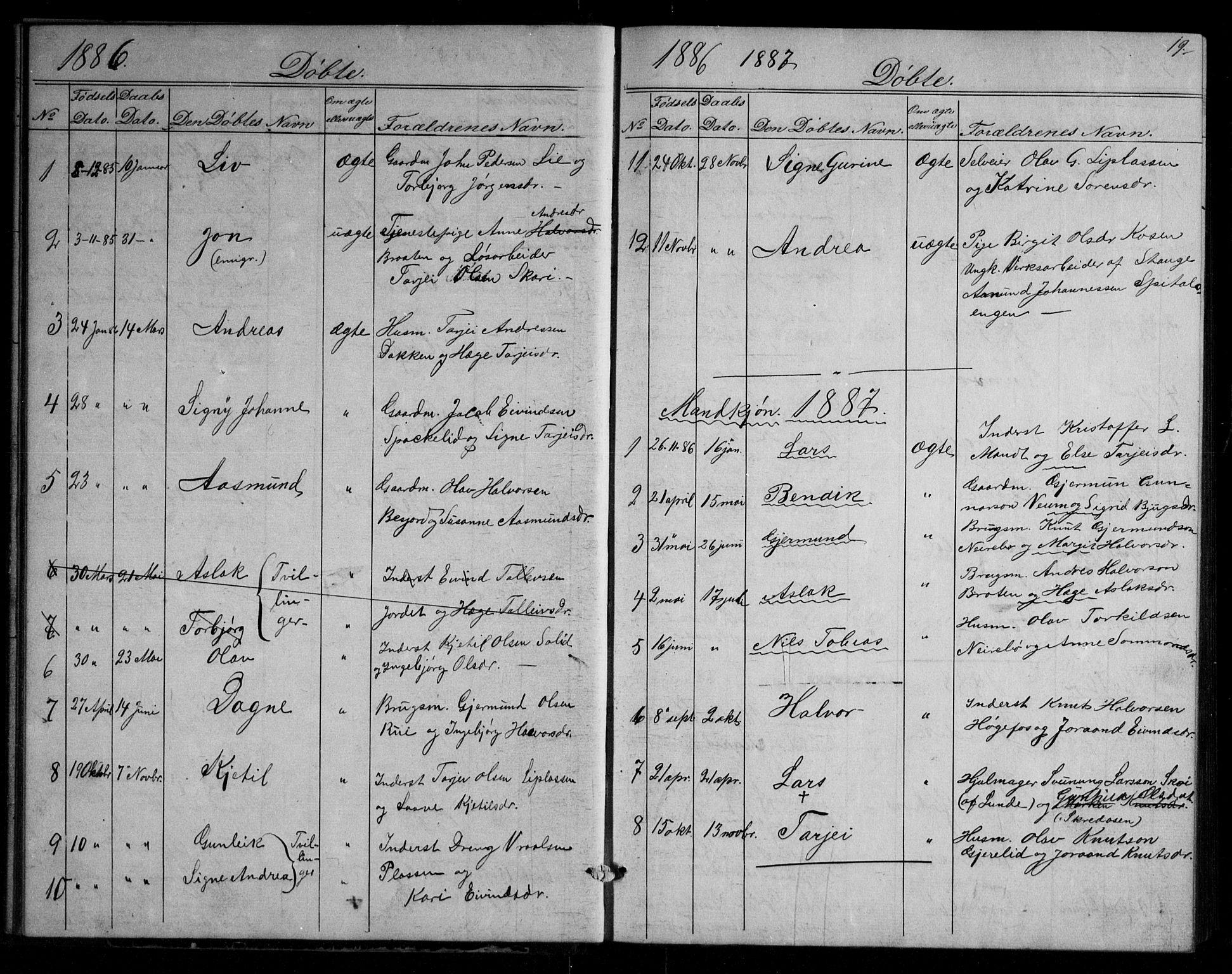 SAKO, Fyresdal kirkebøker, G/Gb/L0001: Klokkerbok nr. II 1, 1864-1890, s. 19