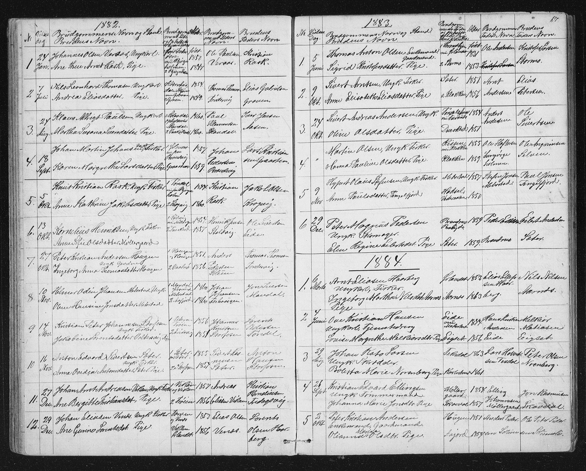 SAT, Ministerialprotokoller, klokkerbøker og fødselsregistre - Sør-Trøndelag, 651/L0647: Klokkerbok nr. 651C01, 1866-1914, s. 67