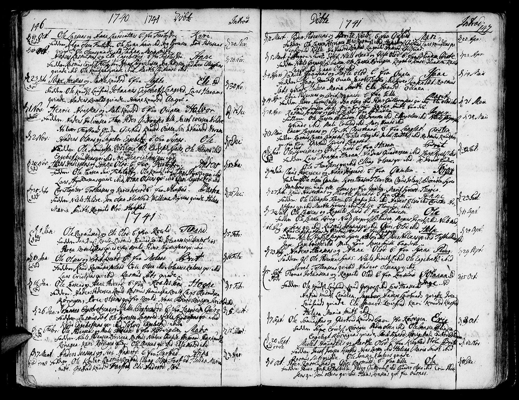 SAT, Ministerialprotokoller, klokkerbøker og fødselsregistre - Møre og Romsdal, 536/L0493: Ministerialbok nr. 536A02, 1739-1802, s. 146-147