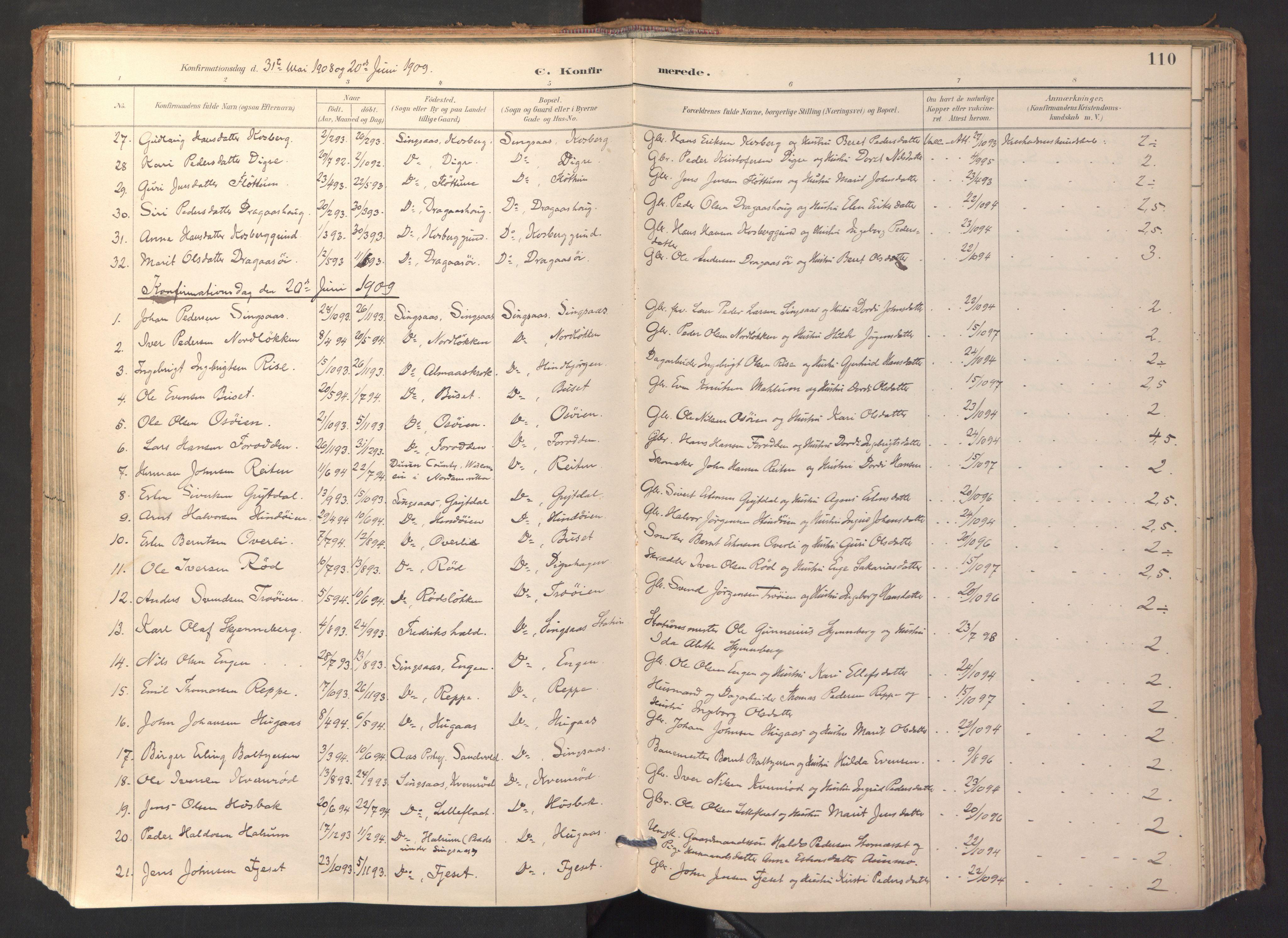 SAT, Ministerialprotokoller, klokkerbøker og fødselsregistre - Sør-Trøndelag, 688/L1025: Ministerialbok nr. 688A02, 1891-1909, s. 110