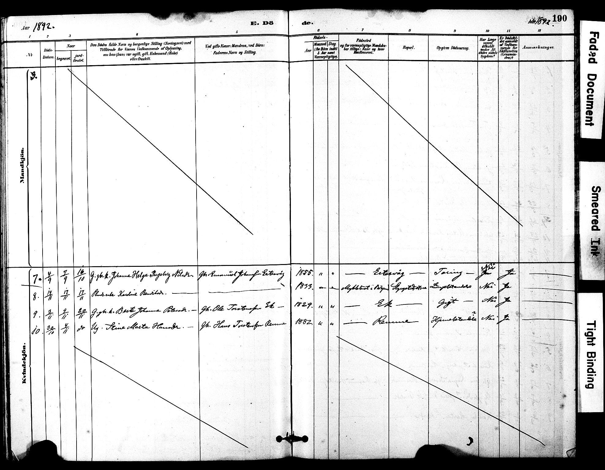 SAT, Ministerialprotokoller, klokkerbøker og fødselsregistre - Møre og Romsdal, 525/L0374: Ministerialbok nr. 525A04, 1880-1899, s. 190
