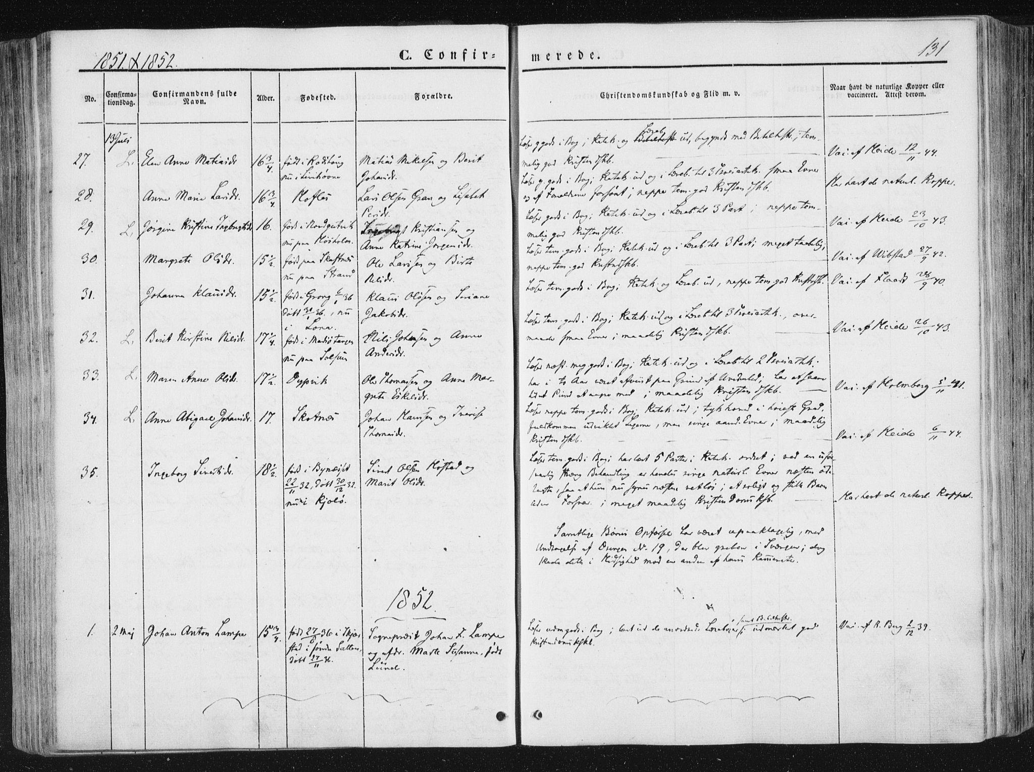 SAT, Ministerialprotokoller, klokkerbøker og fødselsregistre - Nord-Trøndelag, 780/L0640: Ministerialbok nr. 780A05, 1845-1856, s. 131