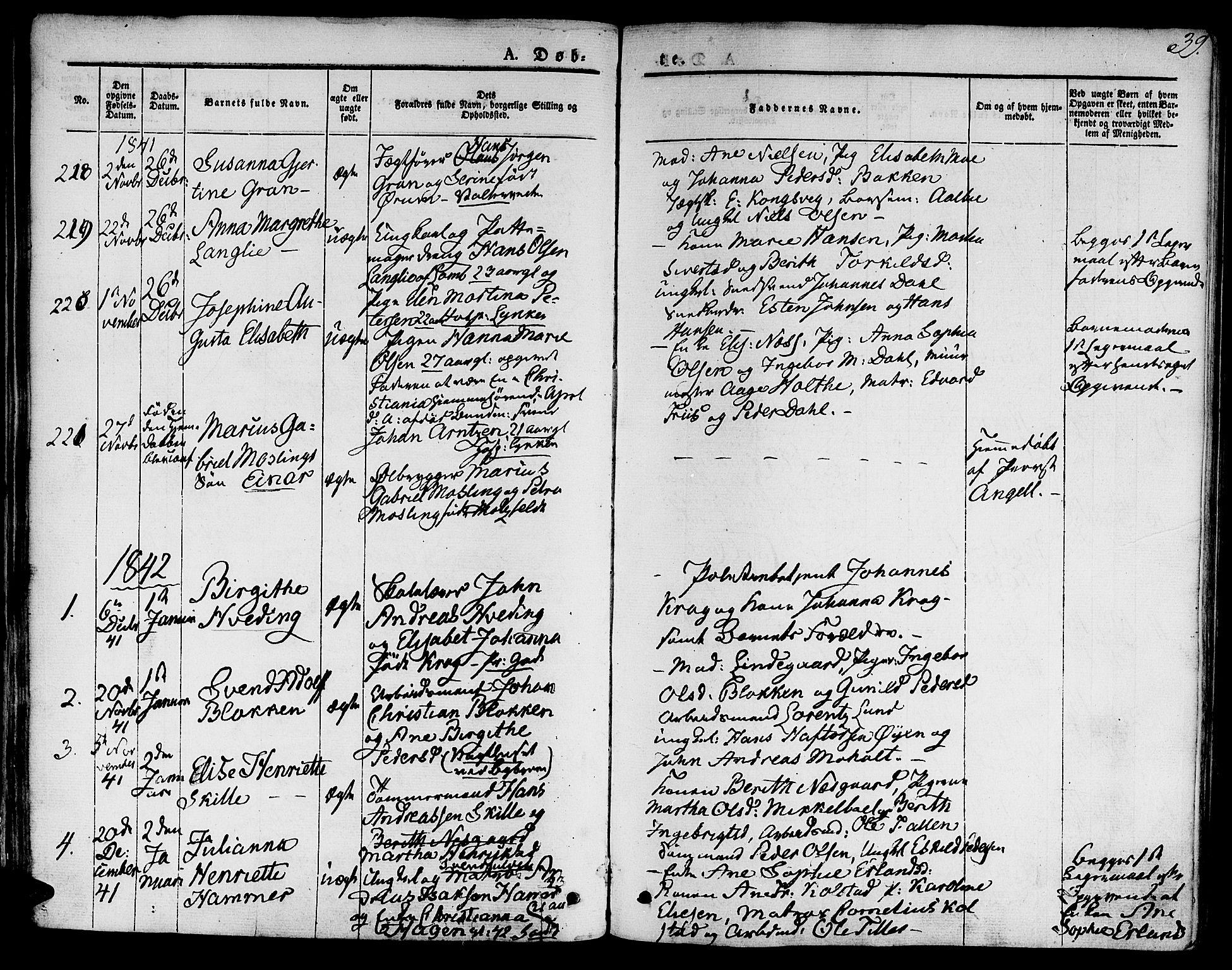 SAT, Ministerialprotokoller, klokkerbøker og fødselsregistre - Sør-Trøndelag, 601/L0048: Ministerialbok nr. 601A16, 1840-1847, s. 39