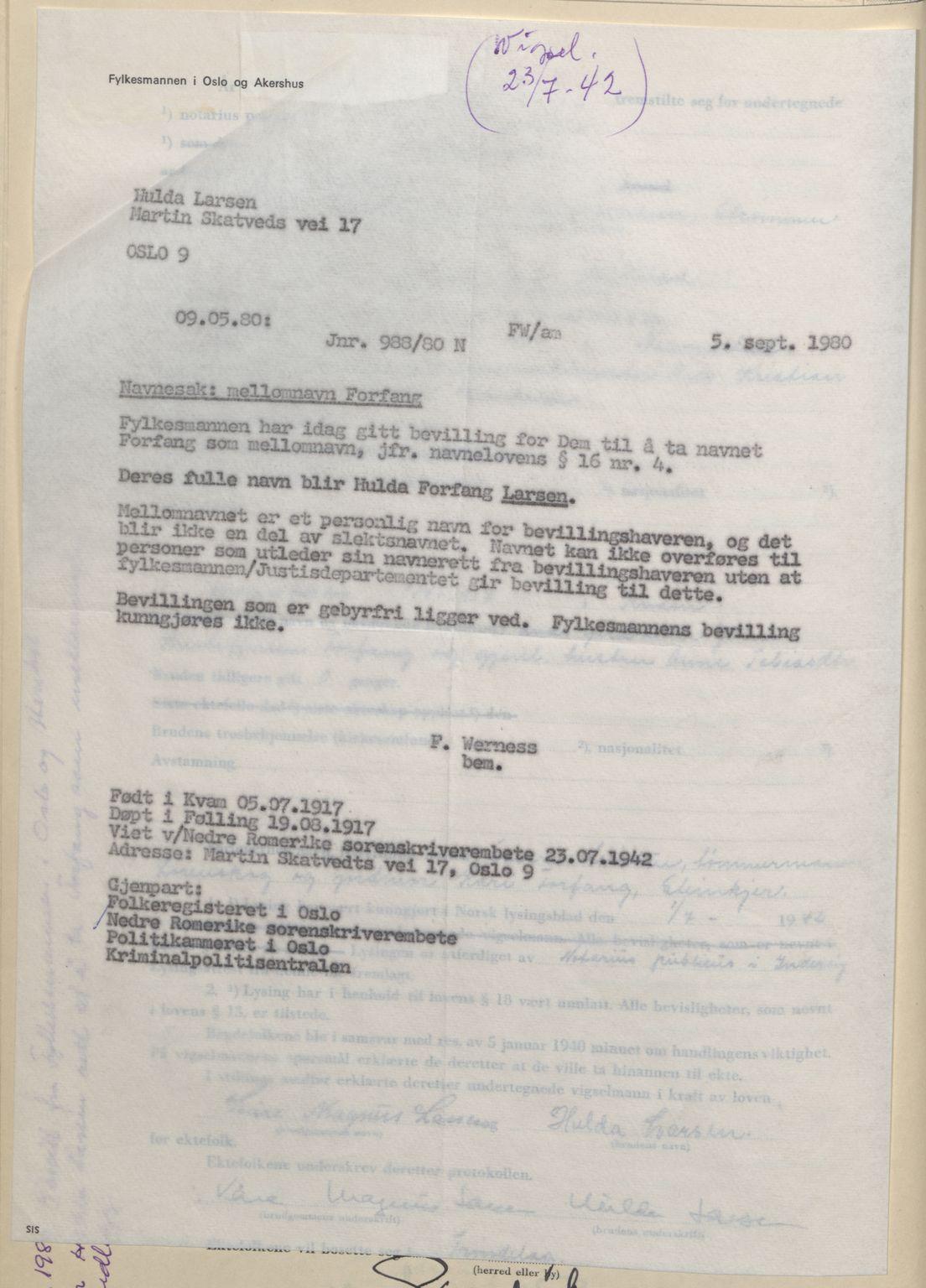 SAO, Nedre Romerike sorenskriveri, L/Lb/L0003: Vigselsbok - borgerlige vielser, 1942-1943, s. upaginert