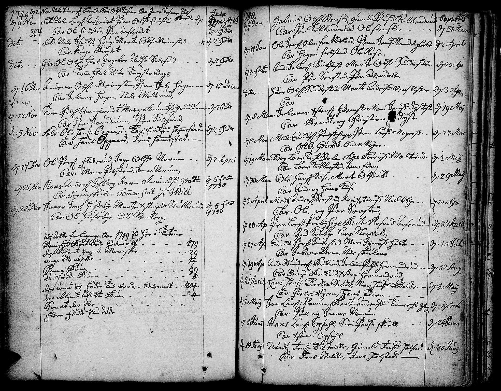 SAH, Toten prestekontor, Ministerialbok nr. 3, 1734-1751, s. 354-355