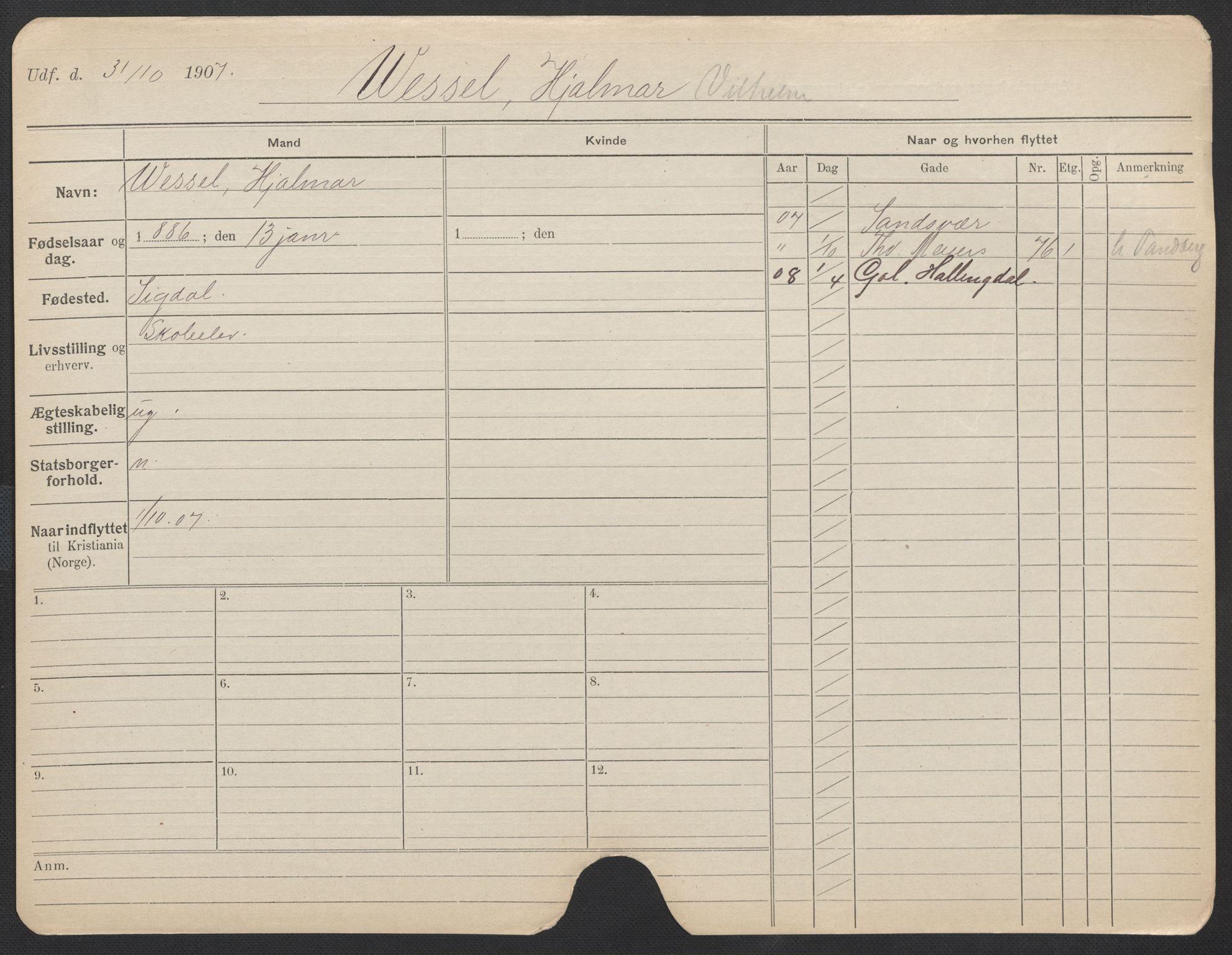SAO, Oslo folkeregister, Registerkort, F/Fa/Fac/L0011: Menn, 1906-1914, s. 726a