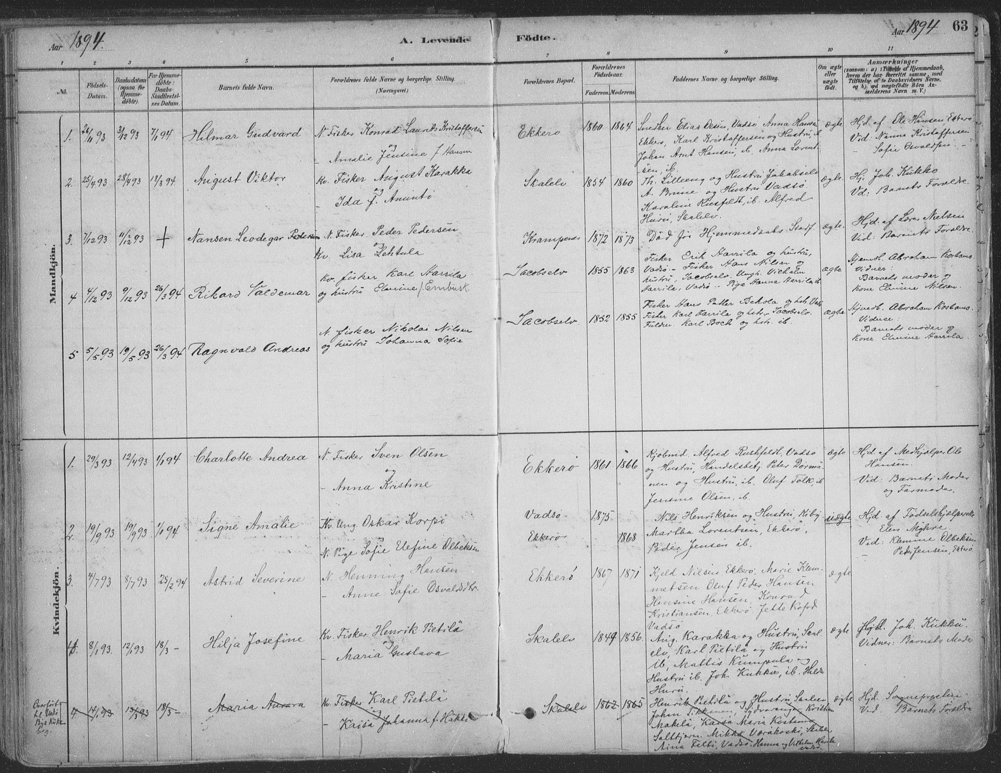 SATØ, Vadsø sokneprestkontor, H/Ha/L0009kirke: Ministerialbok nr. 9, 1881-1917, s. 63