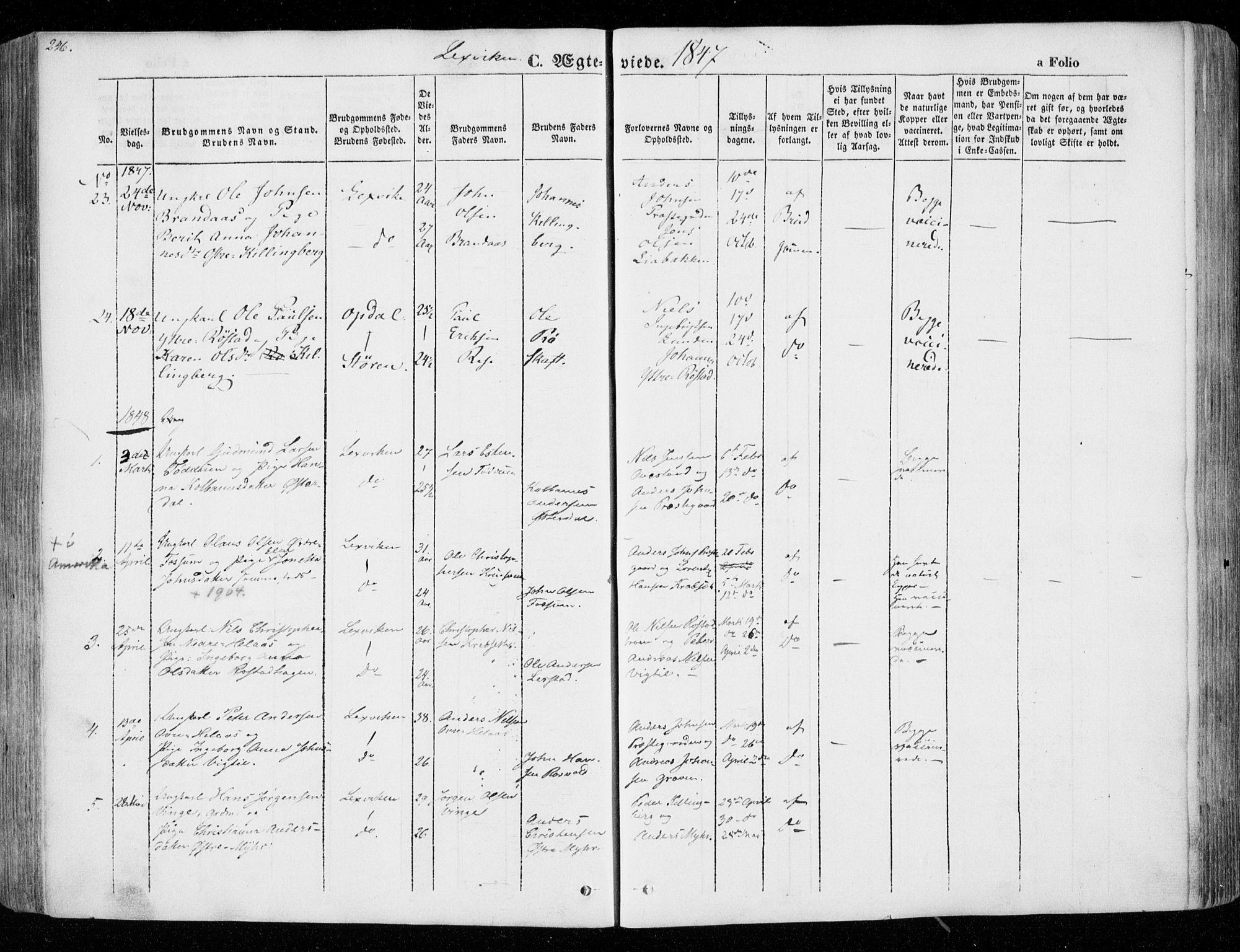 SAT, Ministerialprotokoller, klokkerbøker og fødselsregistre - Nord-Trøndelag, 701/L0007: Ministerialbok nr. 701A07 /1, 1842-1854, s. 246