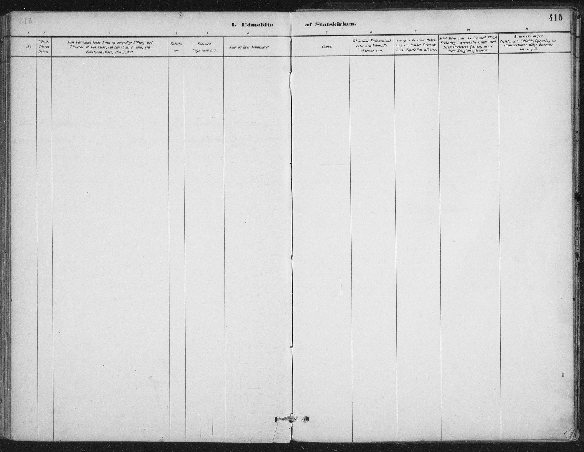 SAT, Ministerialprotokoller, klokkerbøker og fødselsregistre - Nordland, 888/L1244: Ministerialbok nr. 888A10, 1880-1890, s. 415