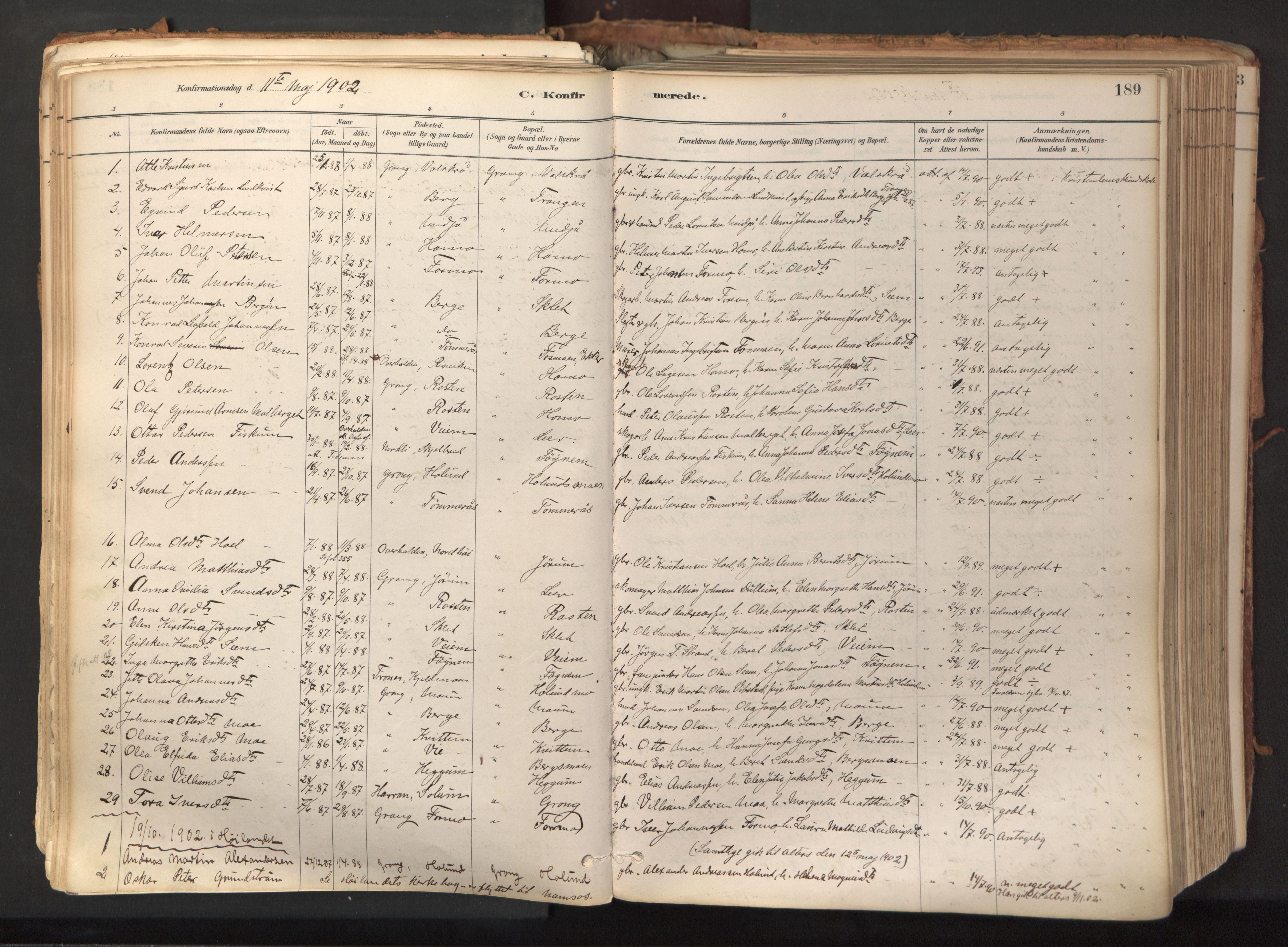 SAT, Ministerialprotokoller, klokkerbøker og fødselsregistre - Nord-Trøndelag, 758/L0519: Ministerialbok nr. 758A04, 1880-1926, s. 189