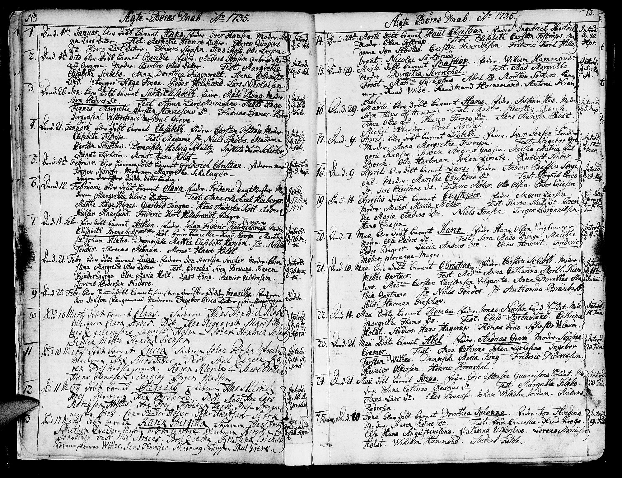 SAT, Ministerialprotokoller, klokkerbøker og fødselsregistre - Sør-Trøndelag, 602/L0103: Ministerialbok nr. 602A01, 1732-1774, s. 13