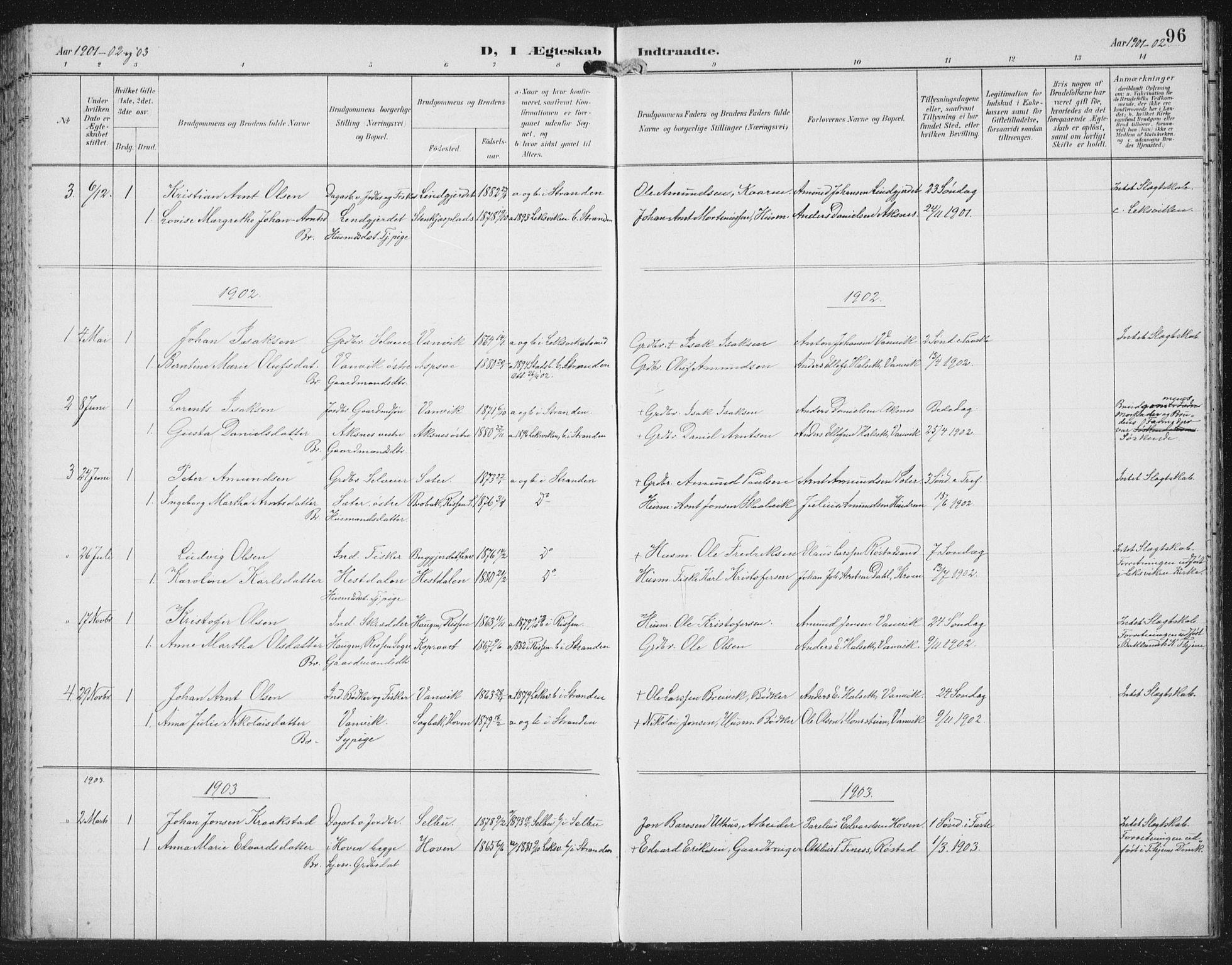 SAT, Ministerialprotokoller, klokkerbøker og fødselsregistre - Nord-Trøndelag, 702/L0024: Ministerialbok nr. 702A02, 1898-1914, s. 96