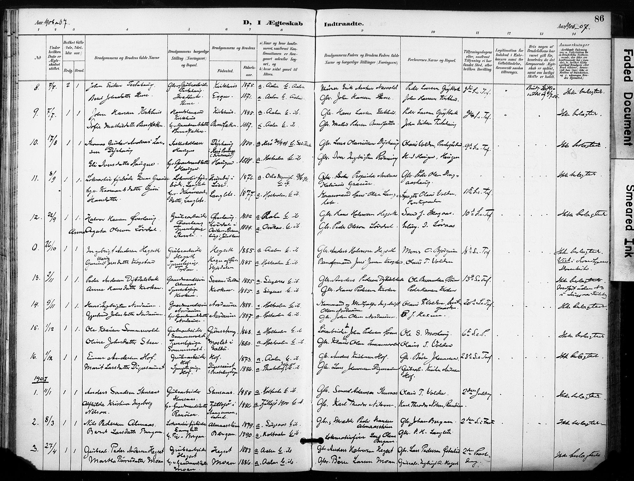 SAT, Ministerialprotokoller, klokkerbøker og fødselsregistre - Sør-Trøndelag, 685/L0973: Ministerialbok nr. 685A10, 1891-1907, s. 86