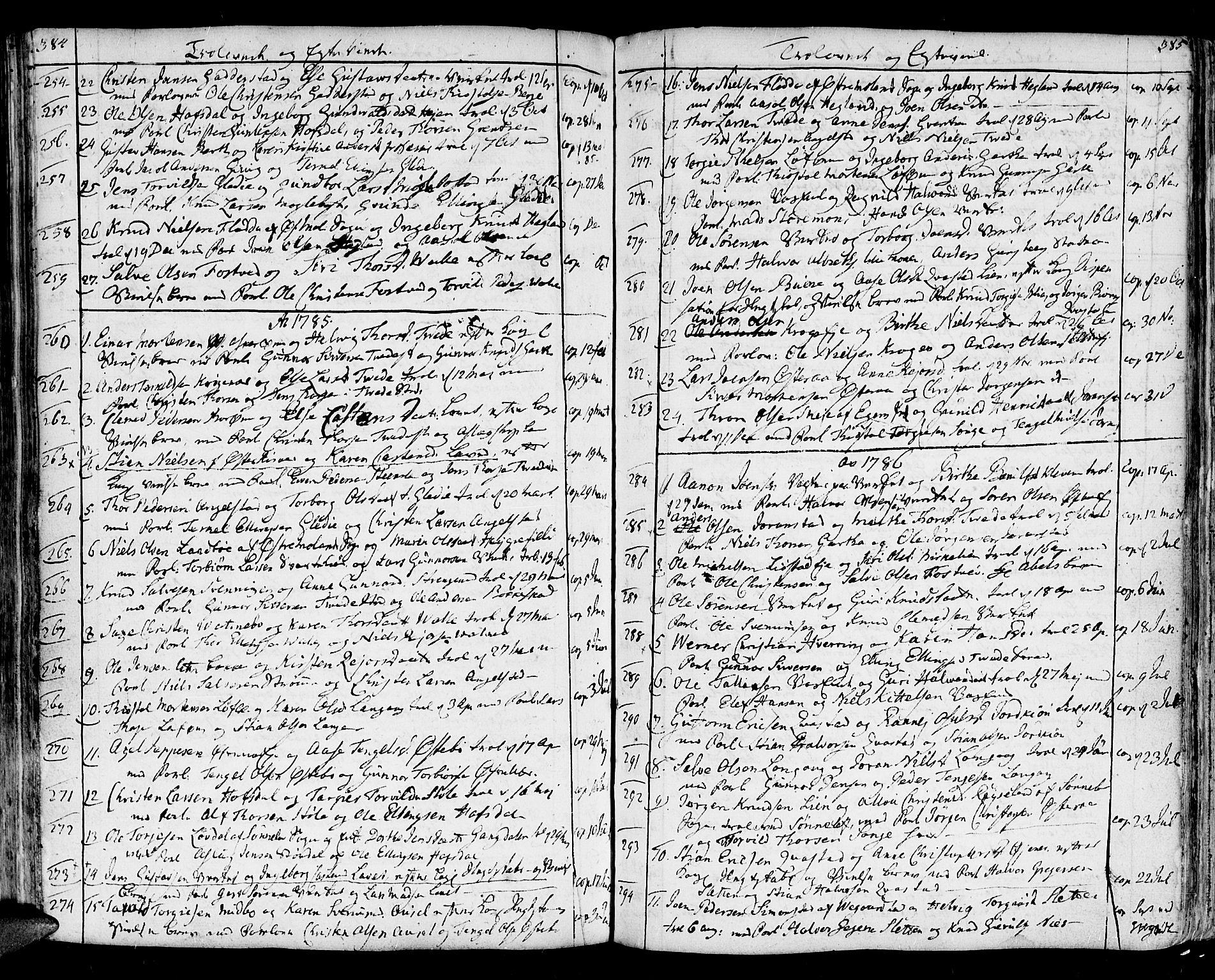 SAK, Holt sokneprestkontor, F/Fa/L0003: Ministerialbok nr. A 3, 1765-1798, s. 384-385