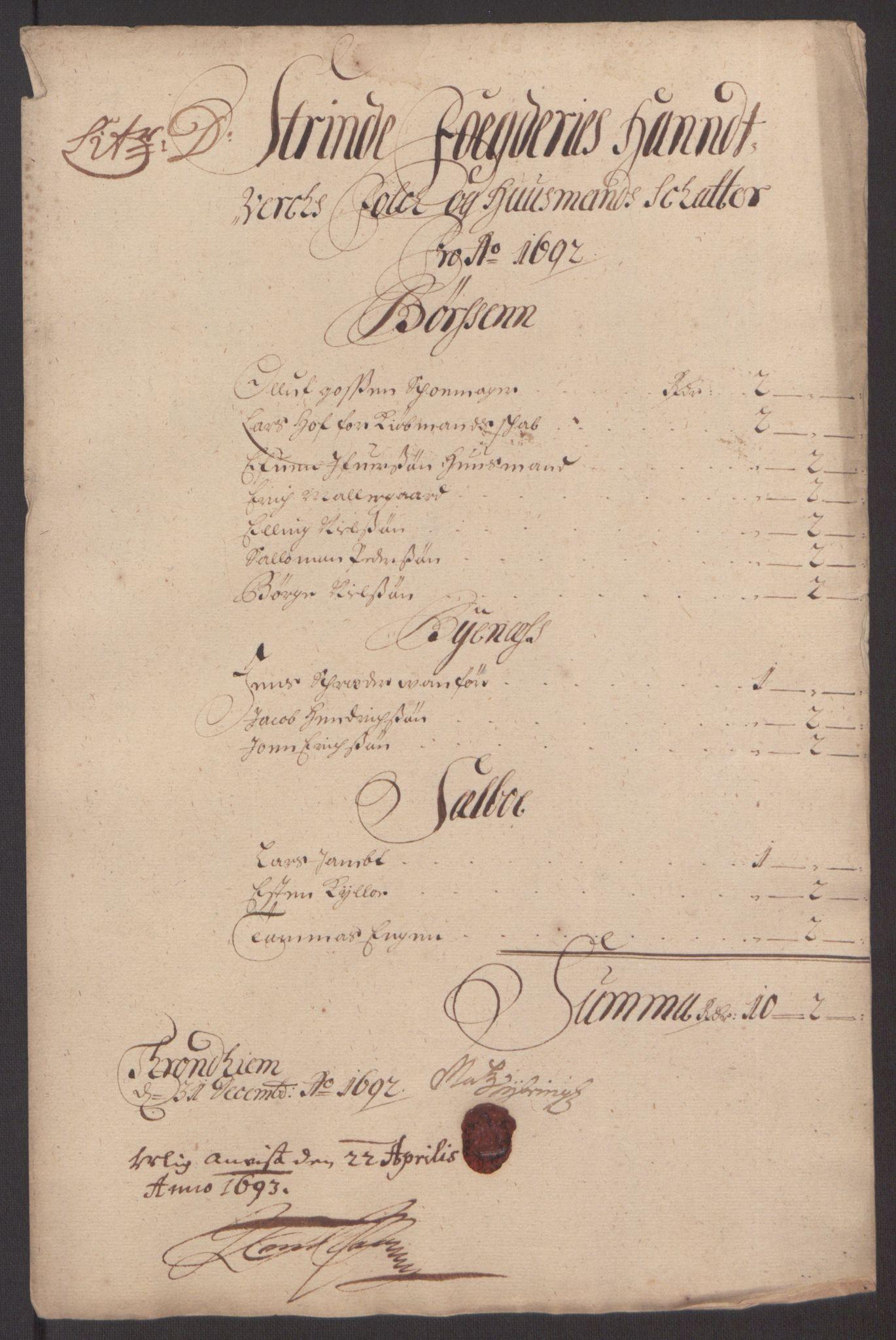 RA, Rentekammeret inntil 1814, Reviderte regnskaper, Fogderegnskap, R61/L4103: Fogderegnskap Strinda og Selbu, 1691-1692, s. 285