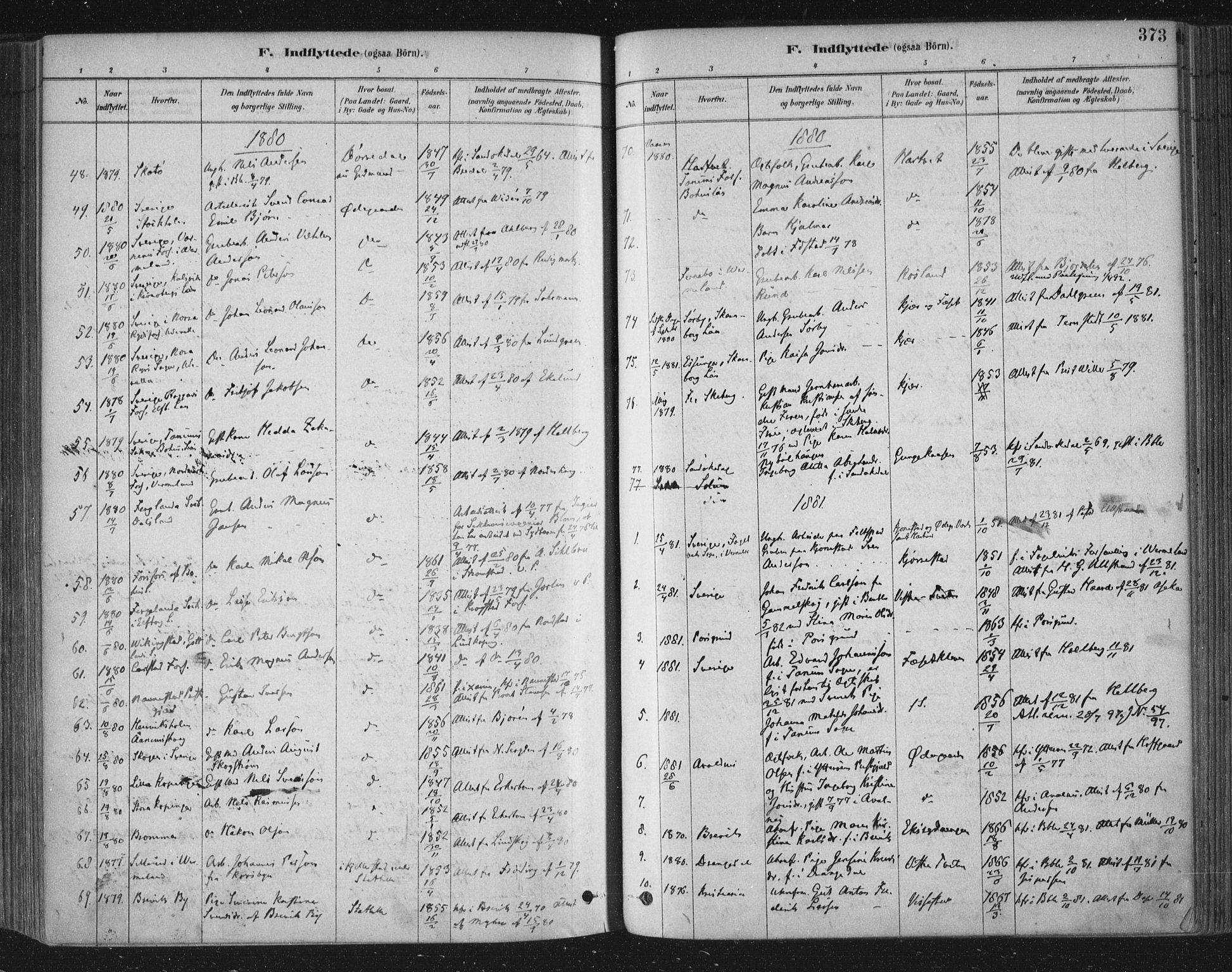 SAKO, Bamble kirkebøker, F/Fa/L0007: Ministerialbok nr. I 7, 1878-1888, s. 373