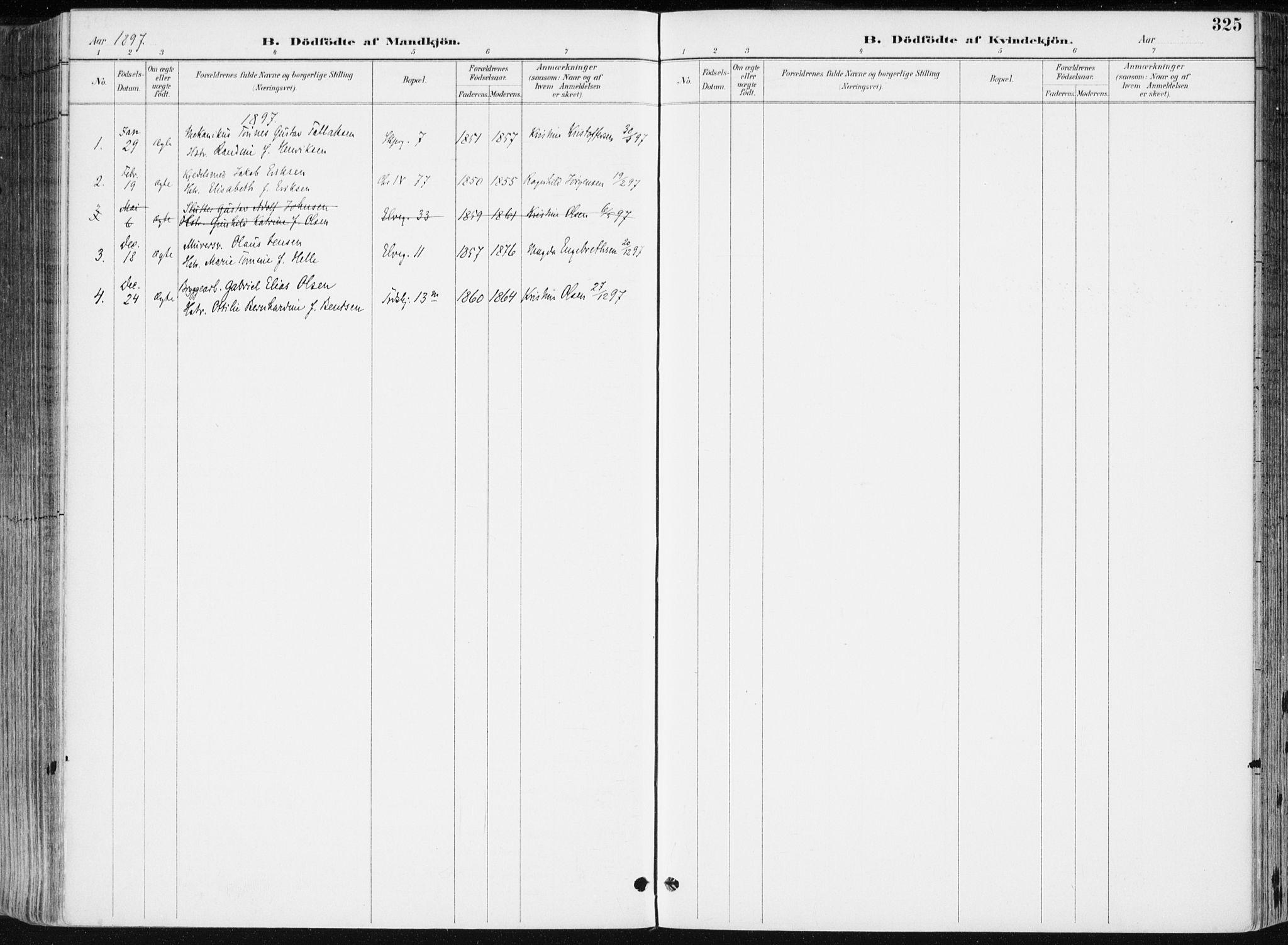 SAK, Kristiansand domprosti, F/Fa/L0019: Ministerialbok nr. A 18, 1890-1897, s. 325
