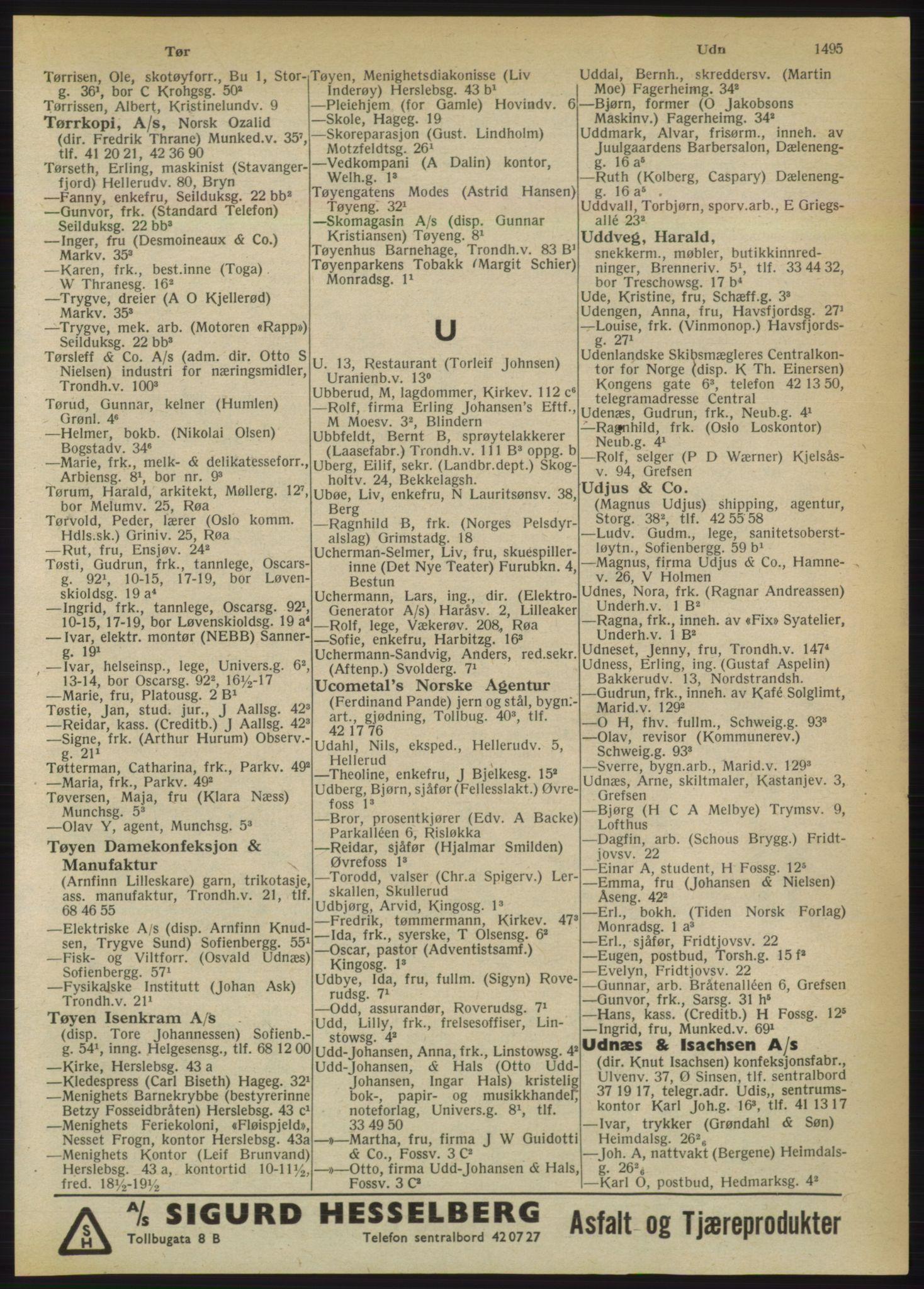 RA, Oslo adressebok (publikasjon)*, 1950, s. 1495