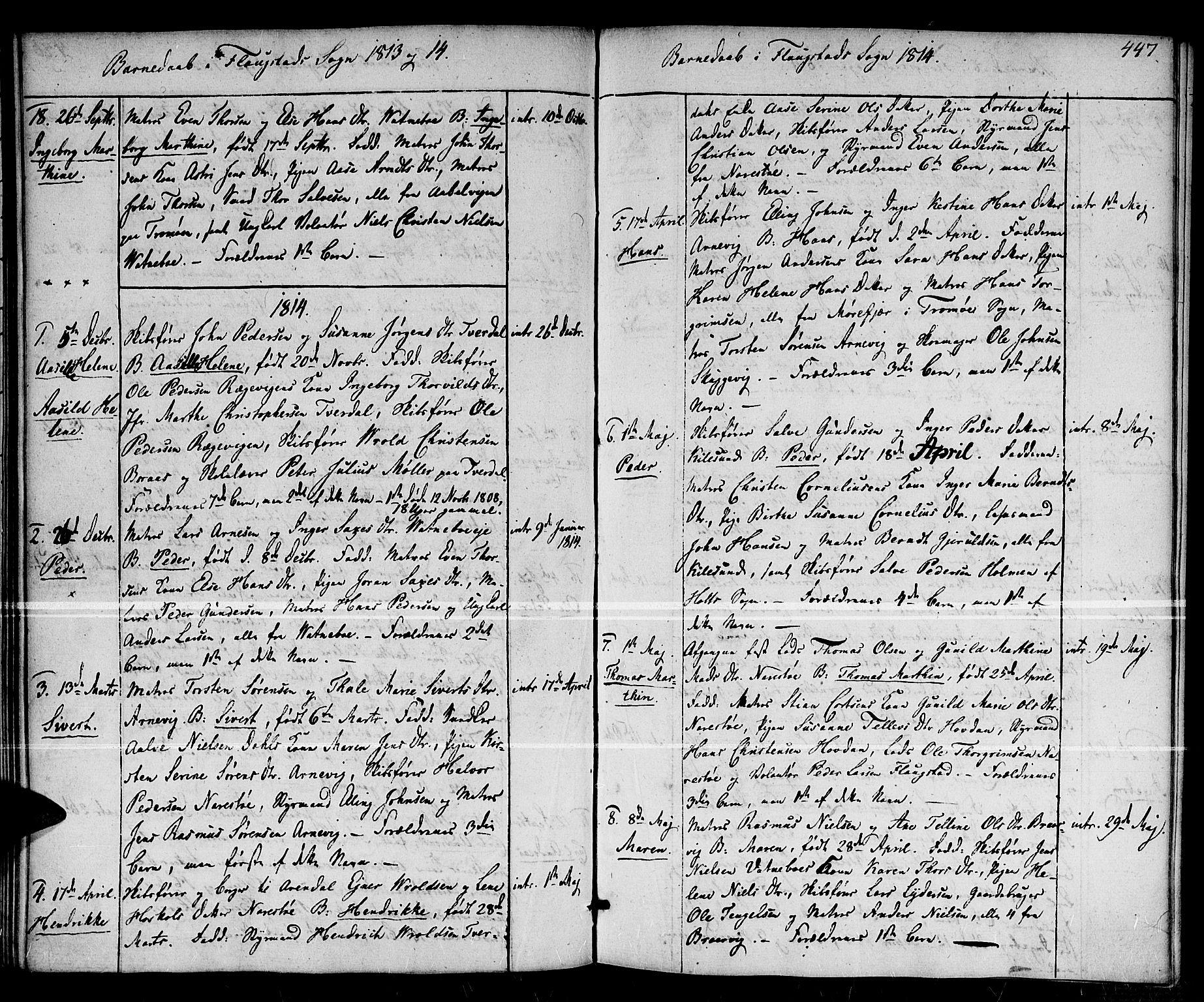 SAK, Dypvåg sokneprestkontor, F/Fa/Faa/L0002: Ministerialbok nr. A 2 /2, 1813-1824, s. 447