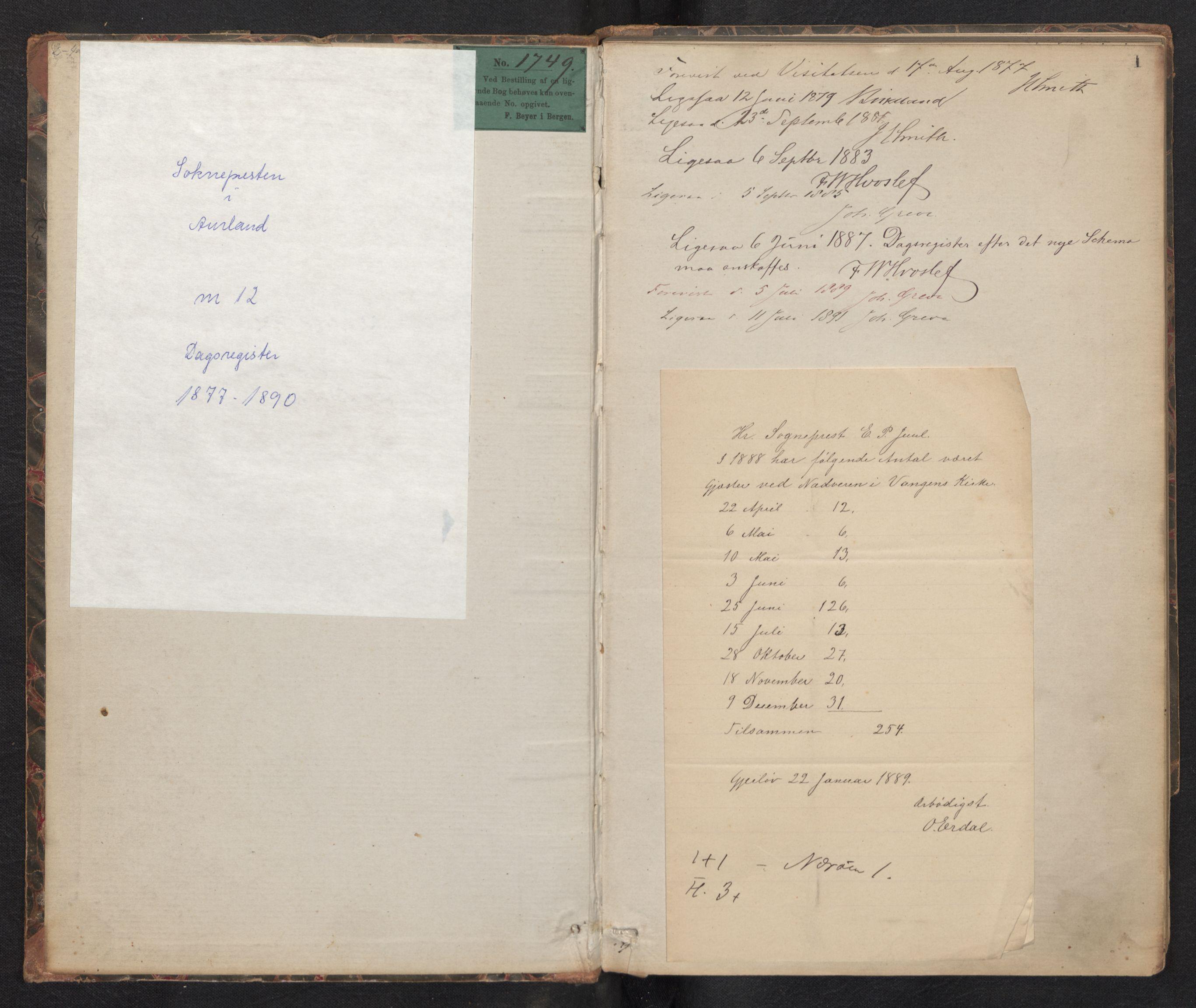 SAB, Aurland Sokneprestembete*, Dagregister nr. F 1, 1877-1890, s. 0b-1a