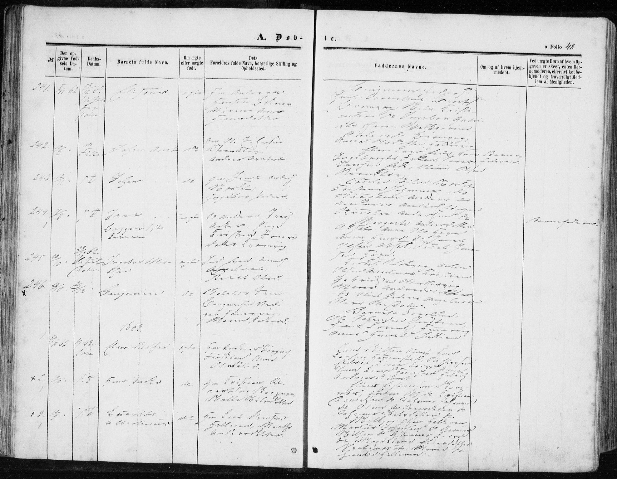 SAT, Ministerialprotokoller, klokkerbøker og fødselsregistre - Sør-Trøndelag, 634/L0531: Ministerialbok nr. 634A07, 1861-1870, s. 48
