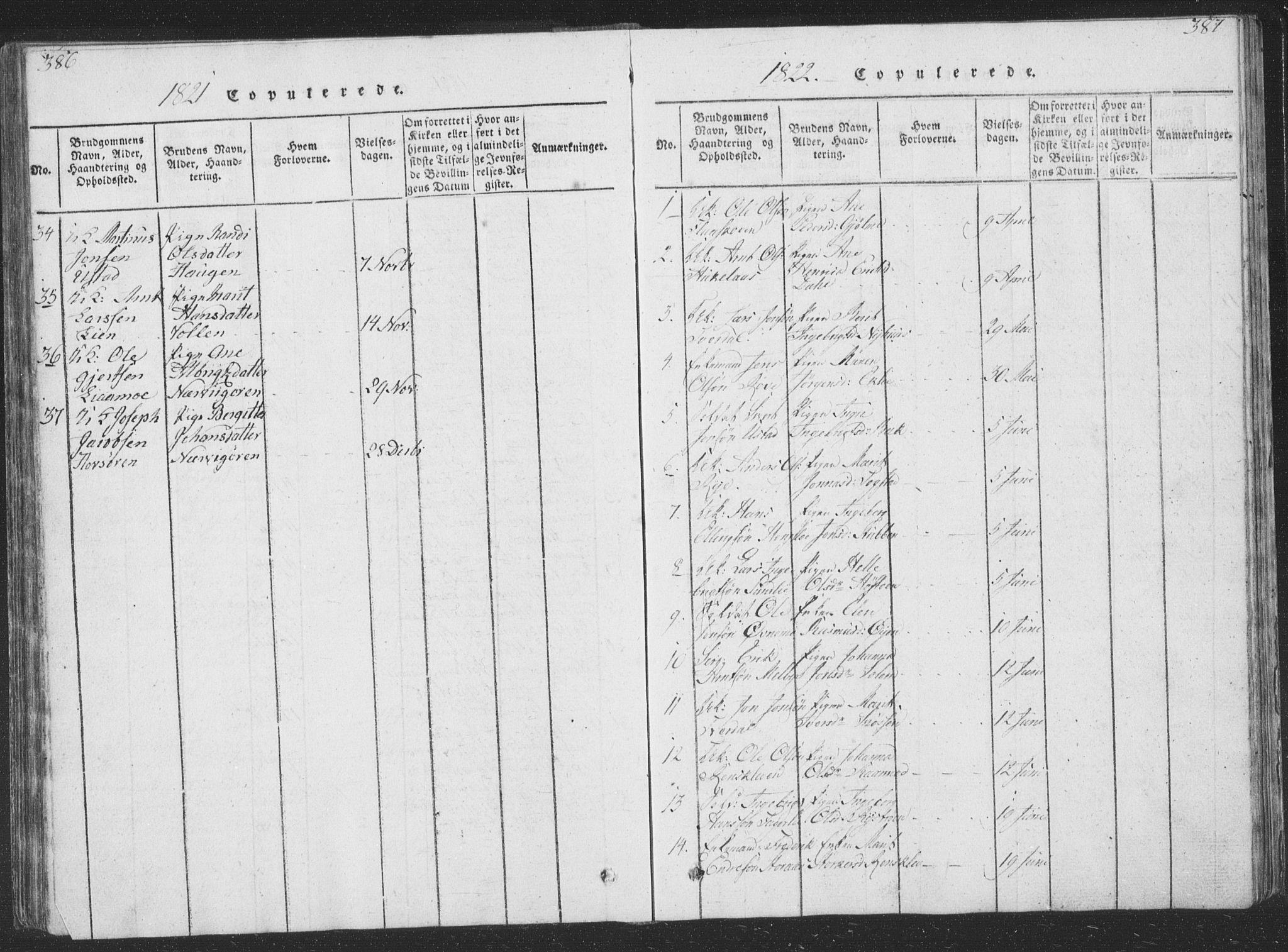 SAT, Ministerialprotokoller, klokkerbøker og fødselsregistre - Sør-Trøndelag, 668/L0816: Klokkerbok nr. 668C05, 1816-1893, s. 386-387