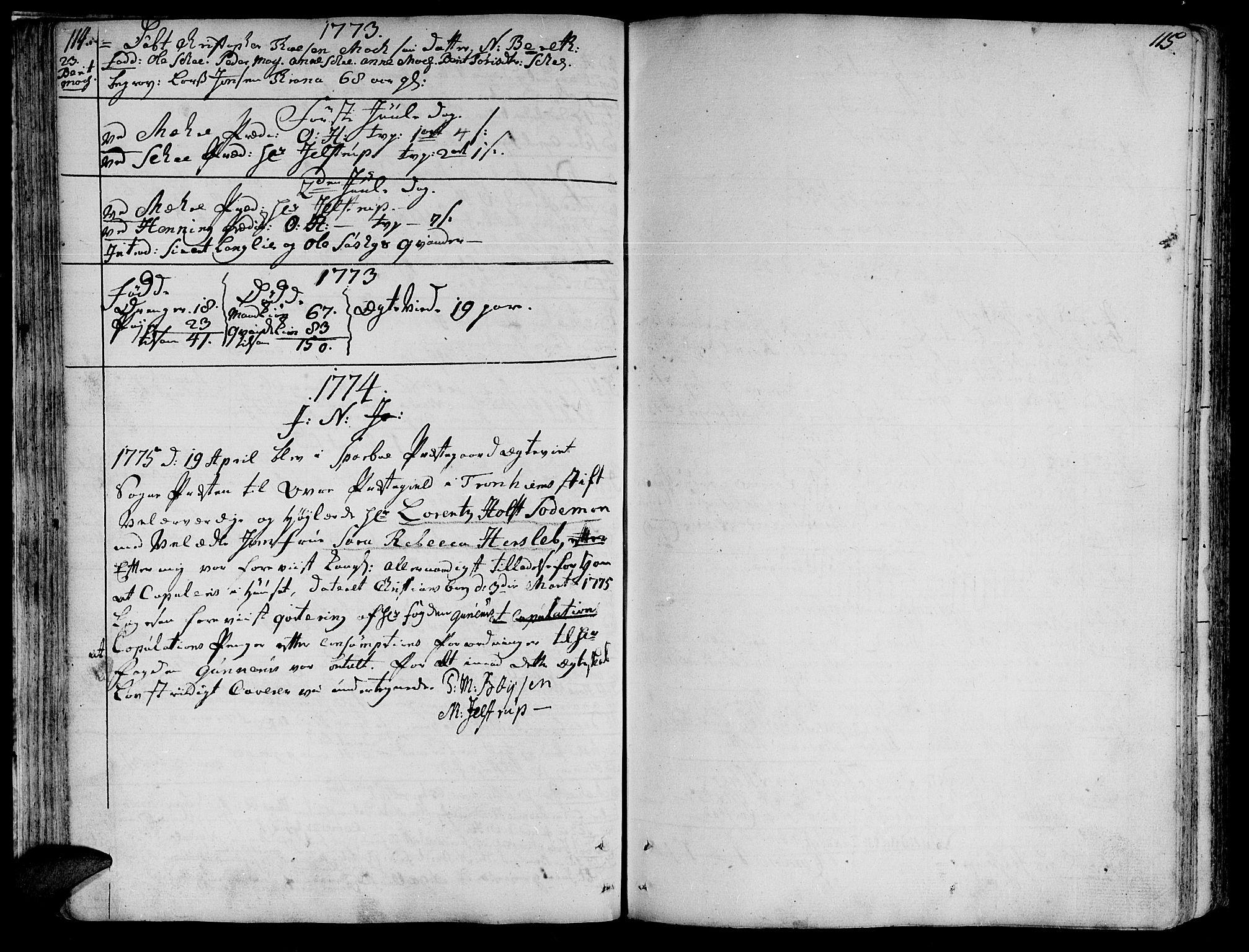SAT, Ministerialprotokoller, klokkerbøker og fødselsregistre - Nord-Trøndelag, 735/L0331: Ministerialbok nr. 735A02, 1762-1794, s. 114-115