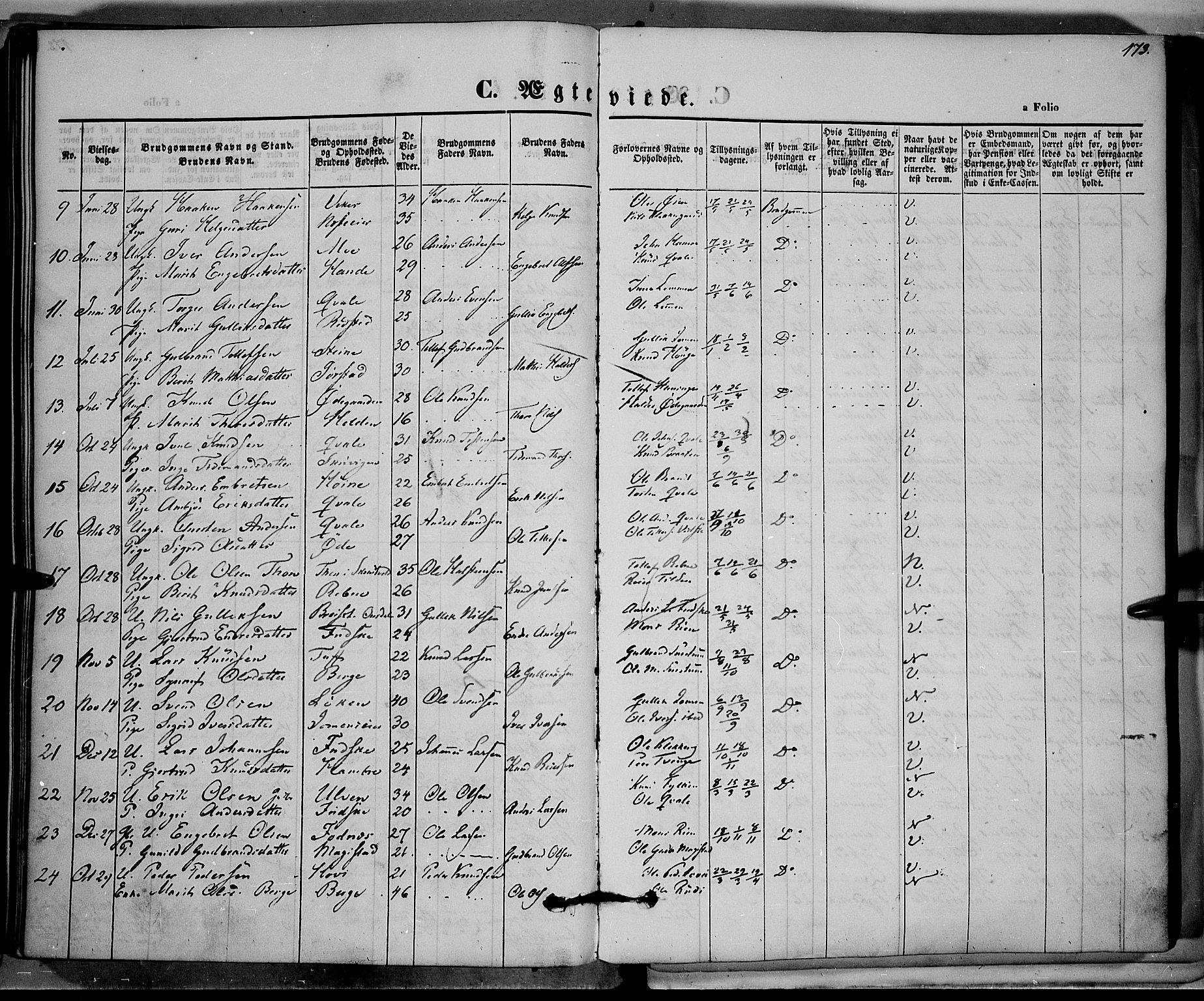 SAH, Vestre Slidre prestekontor, Ministerialbok nr. 1, 1844-1855, s. 173