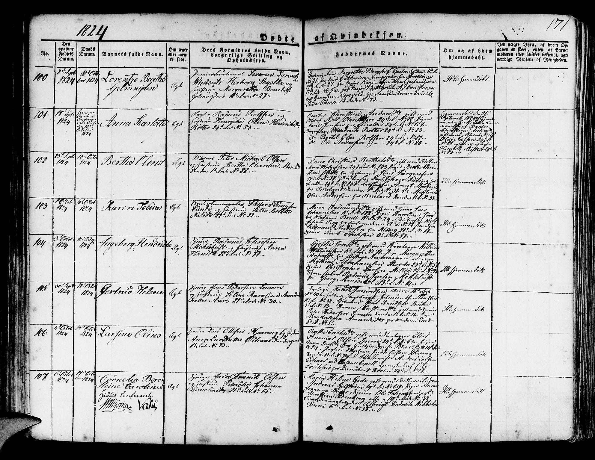 SAB, Korskirken Sokneprestembete, H/Haa/L0014: Ministerialbok nr. A 14, 1823-1835, s. 171