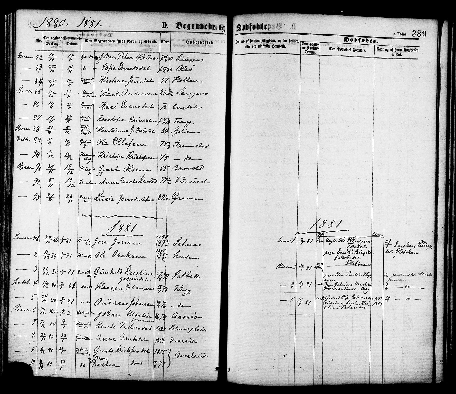 SAT, Ministerialprotokoller, klokkerbøker og fødselsregistre - Sør-Trøndelag, 646/L0613: Ministerialbok nr. 646A11, 1870-1884, s. 389