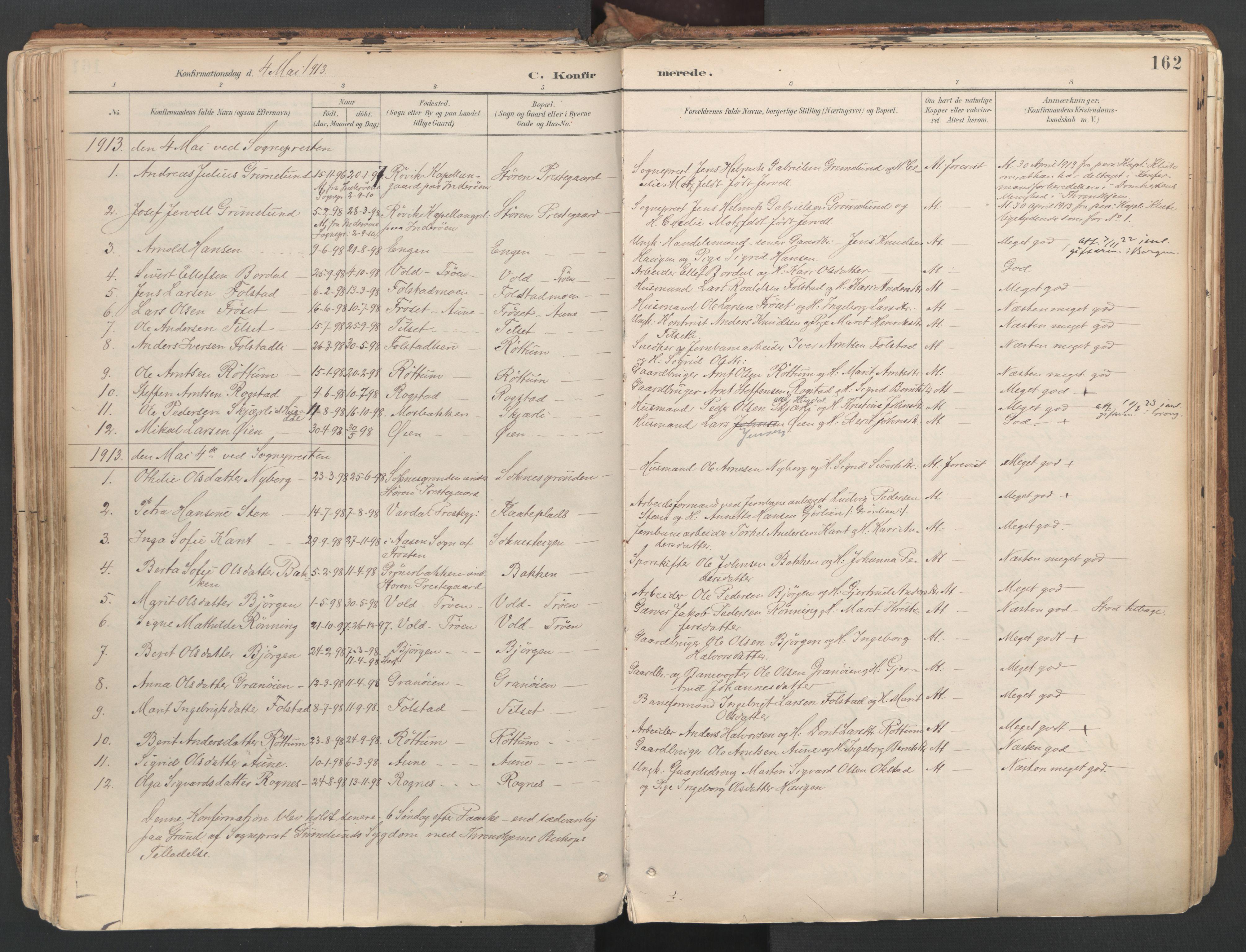 SAT, Ministerialprotokoller, klokkerbøker og fødselsregistre - Sør-Trøndelag, 687/L1004: Ministerialbok nr. 687A10, 1891-1923, s. 162
