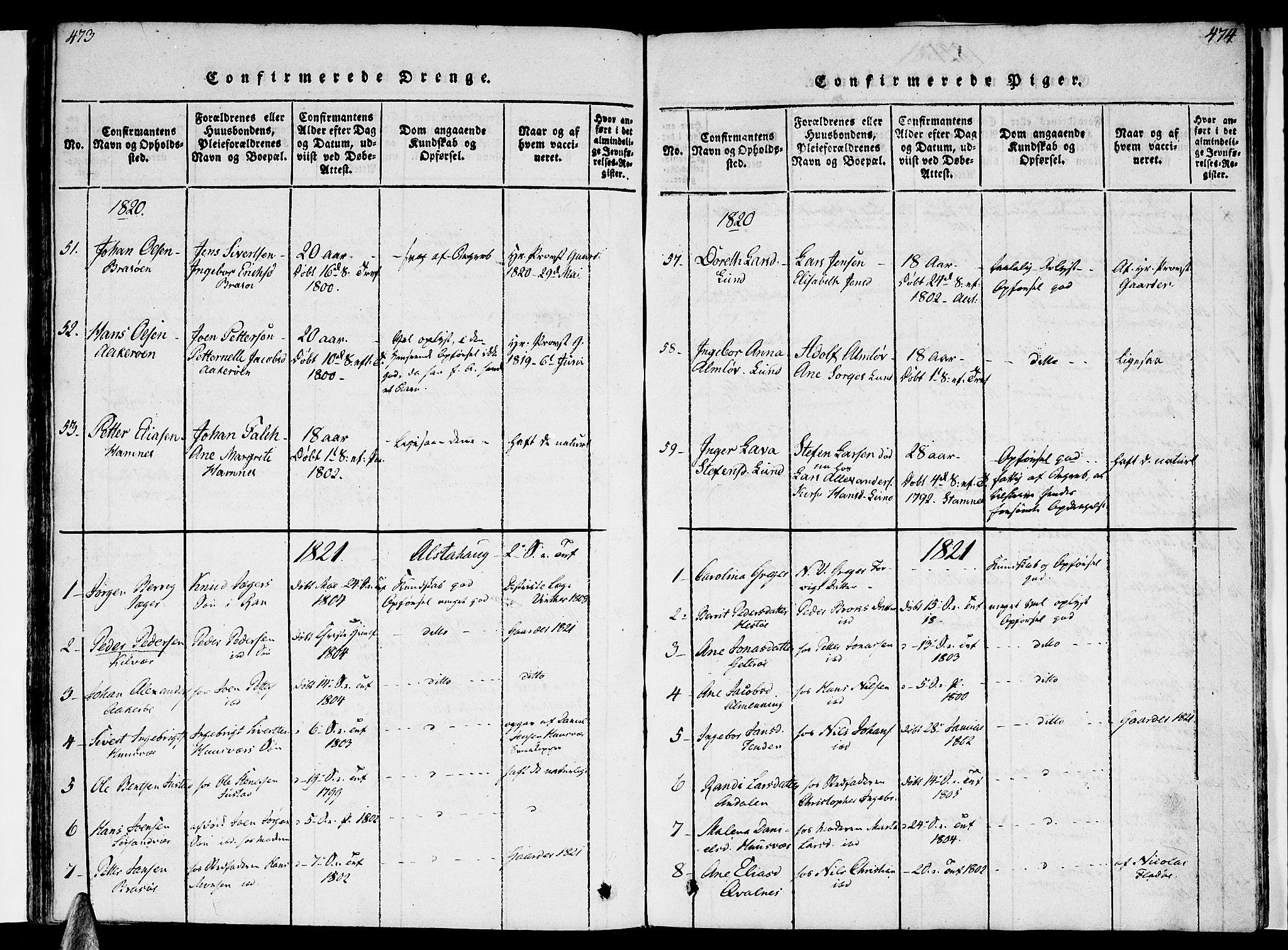SAT, Ministerialprotokoller, klokkerbøker og fødselsregistre - Nordland, 830/L0445: Ministerialbok nr. 830A09, 1820-1830, s. 473-474