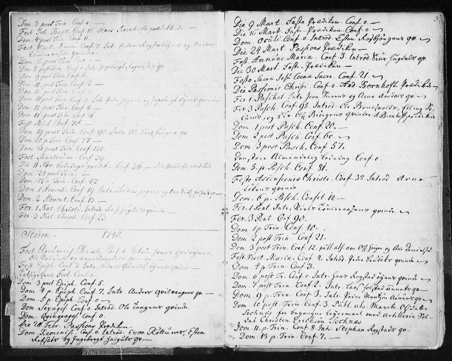 SAT, Ministerialprotokoller, klokkerbøker og fødselsregistre - Sør-Trøndelag, 687/L0991: Ministerialbok nr. 687A02, 1747-1790, s. 3