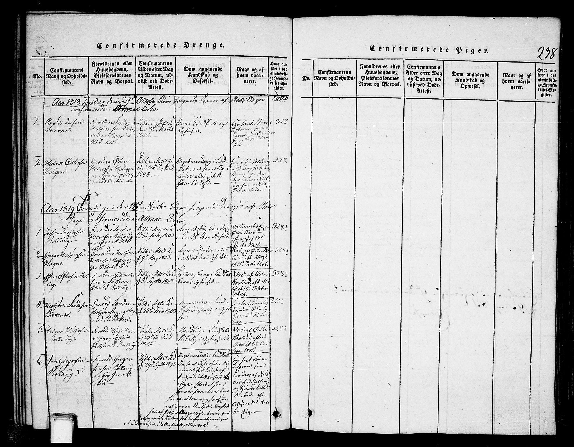 SAKO, Tinn kirkebøker, G/Gb/L0001: Klokkerbok nr. II 1 /1, 1815-1850, s. 238