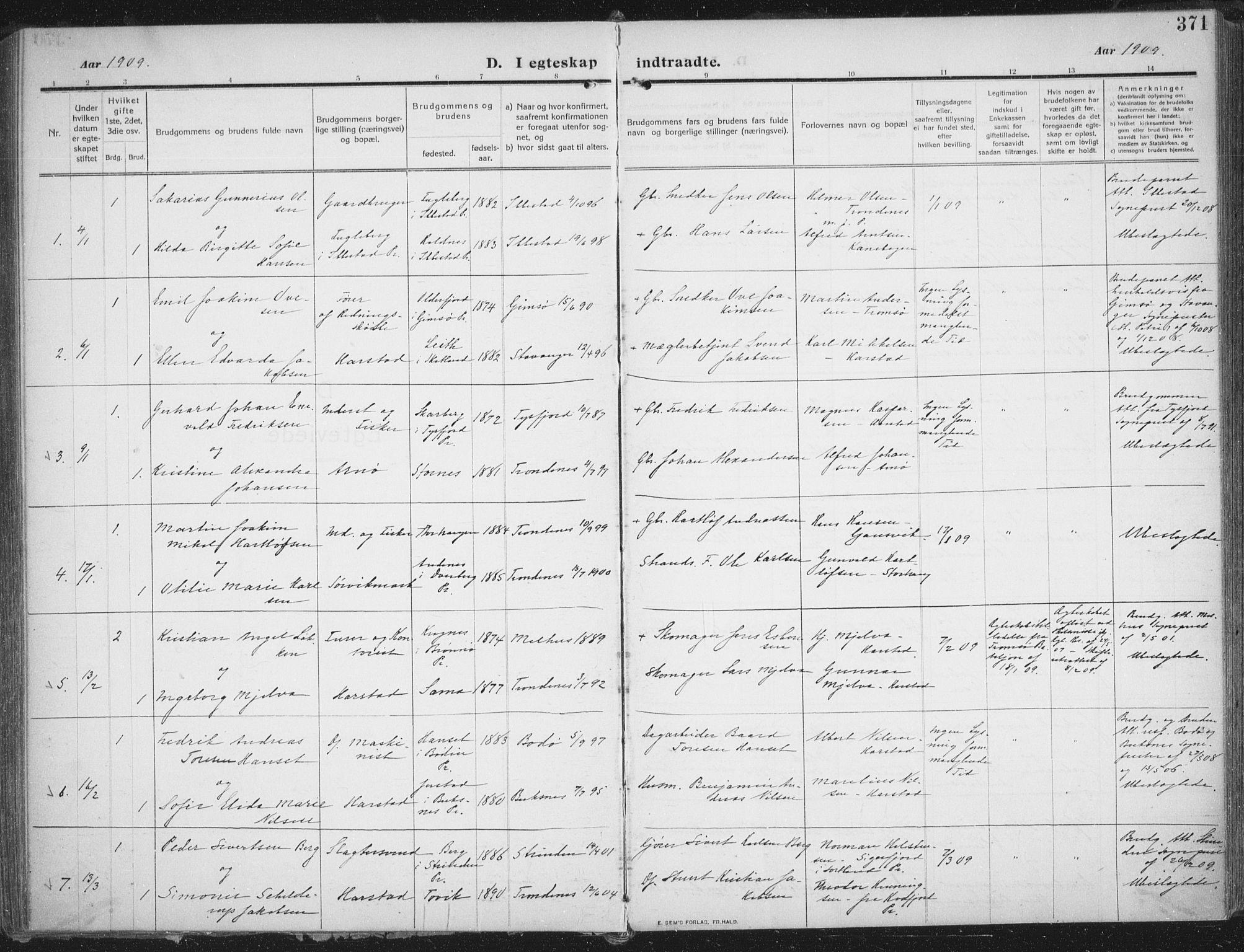 SATØ, Trondenes sokneprestkontor, H/Ha/L0018kirke: Ministerialbok nr. 18, 1909-1918, s. 371