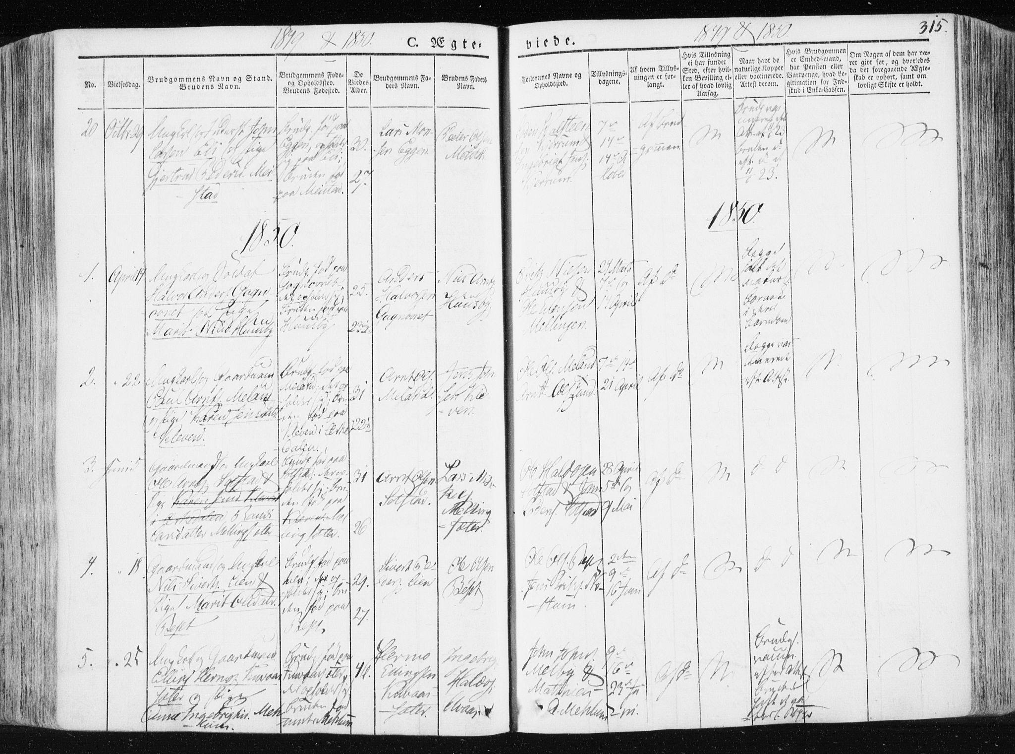 SAT, Ministerialprotokoller, klokkerbøker og fødselsregistre - Sør-Trøndelag, 665/L0771: Ministerialbok nr. 665A06, 1830-1856, s. 315