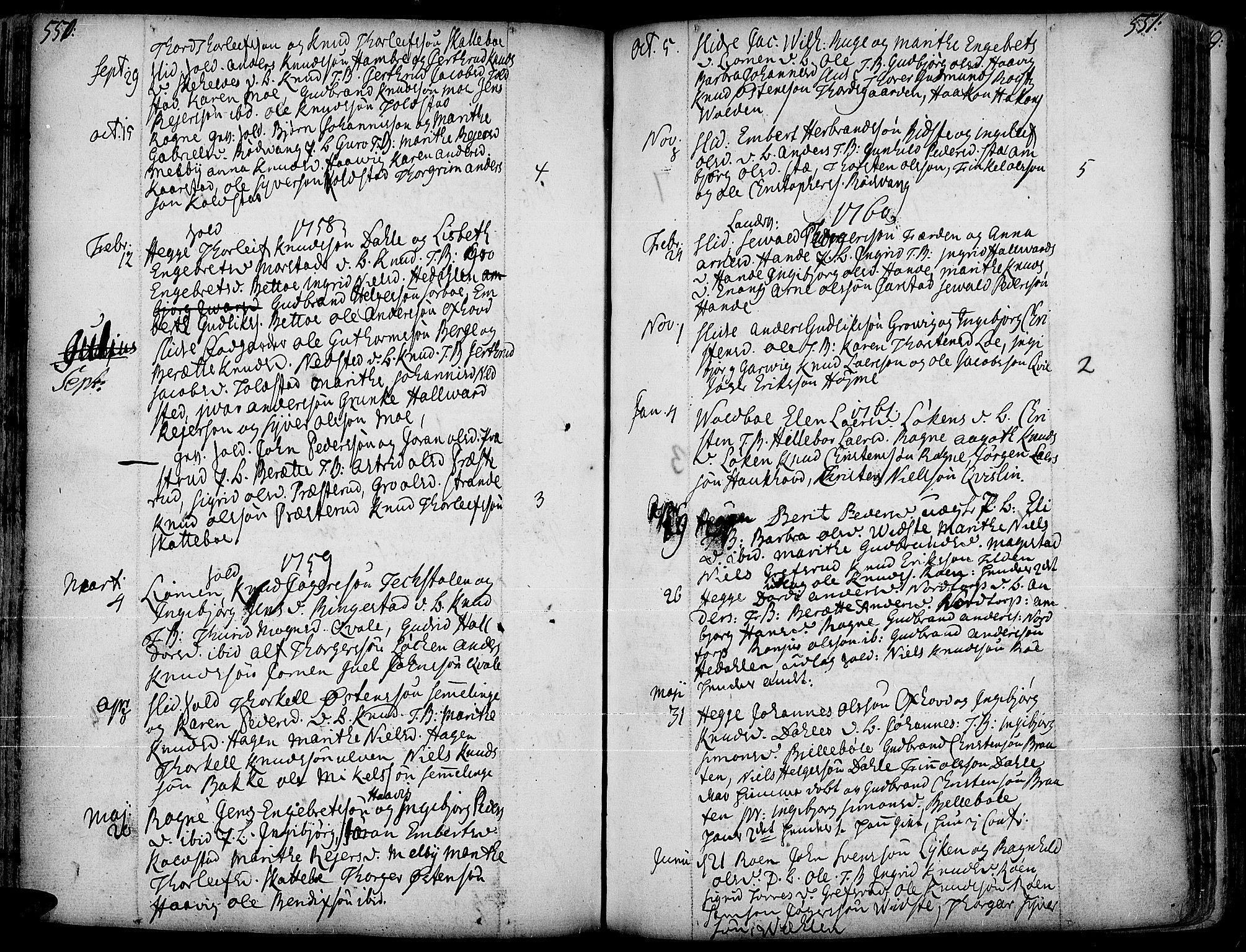 SAH, Slidre prestekontor, Ministerialbok nr. 1, 1724-1814, s. 550-551