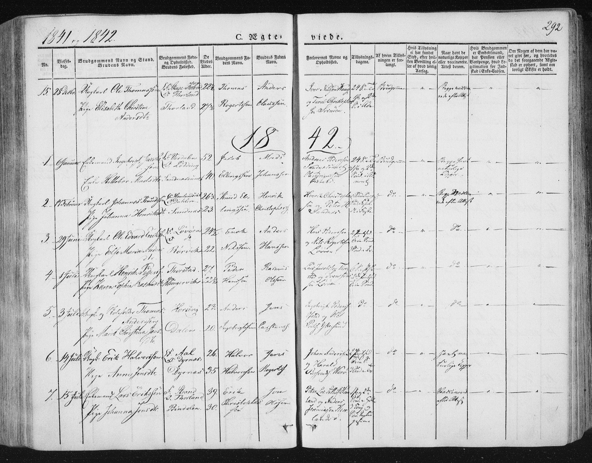 SAT, Ministerialprotokoller, klokkerbøker og fødselsregistre - Nord-Trøndelag, 784/L0669: Ministerialbok nr. 784A04, 1829-1859, s. 292