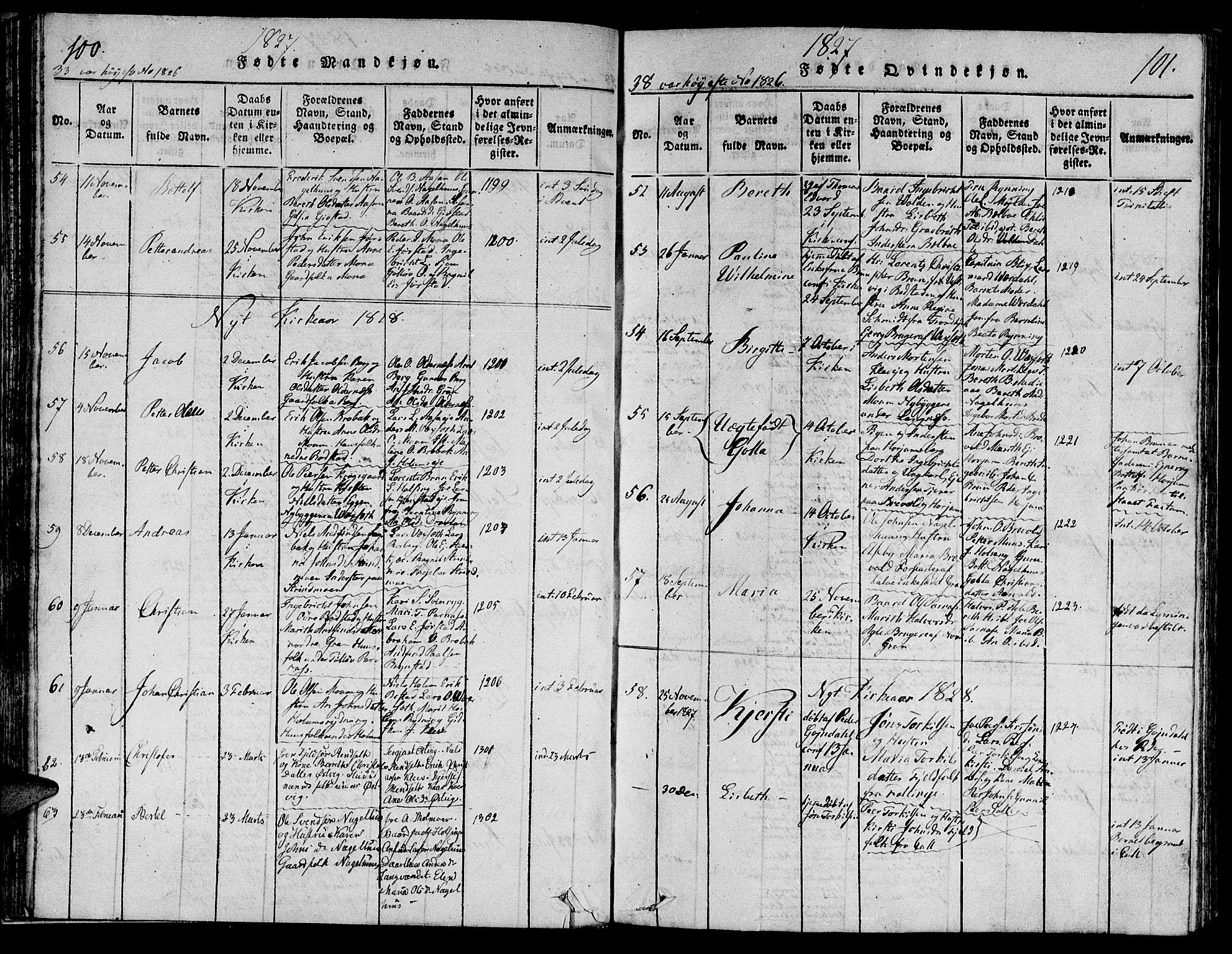 SAT, Ministerialprotokoller, klokkerbøker og fødselsregistre - Nord-Trøndelag, 749/L0479: Klokkerbok nr. 749C01, 1817-1829, s. 100-101