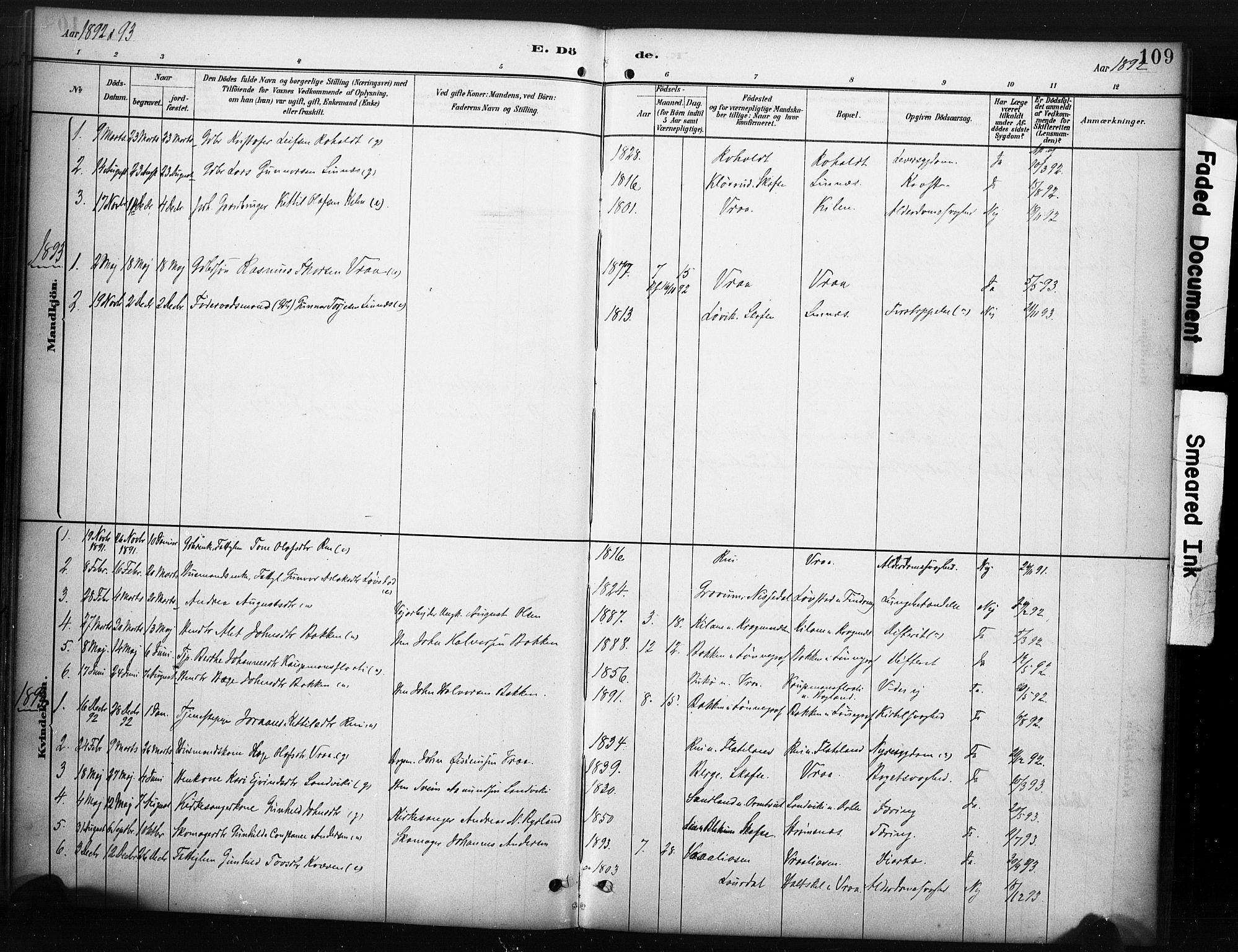 SAKO, Kviteseid kirkebøker, F/Fc/L0002: Ministerialbok nr. III 2, 1882-1908, s. 109