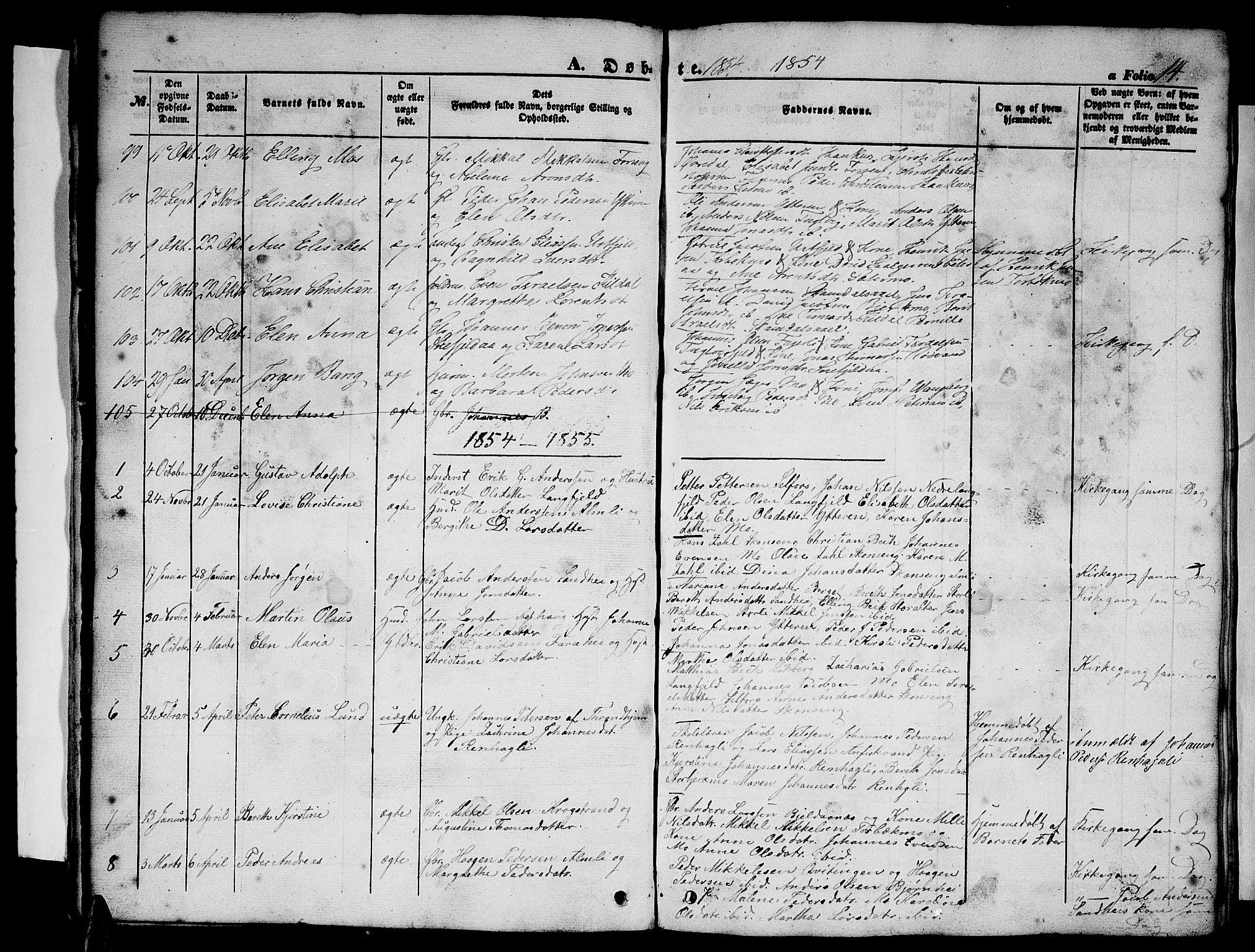 SAT, Ministerialprotokoller, klokkerbøker og fødselsregistre - Nordland, 827/L0414: Klokkerbok nr. 827C03, 1853-1865, s. 14