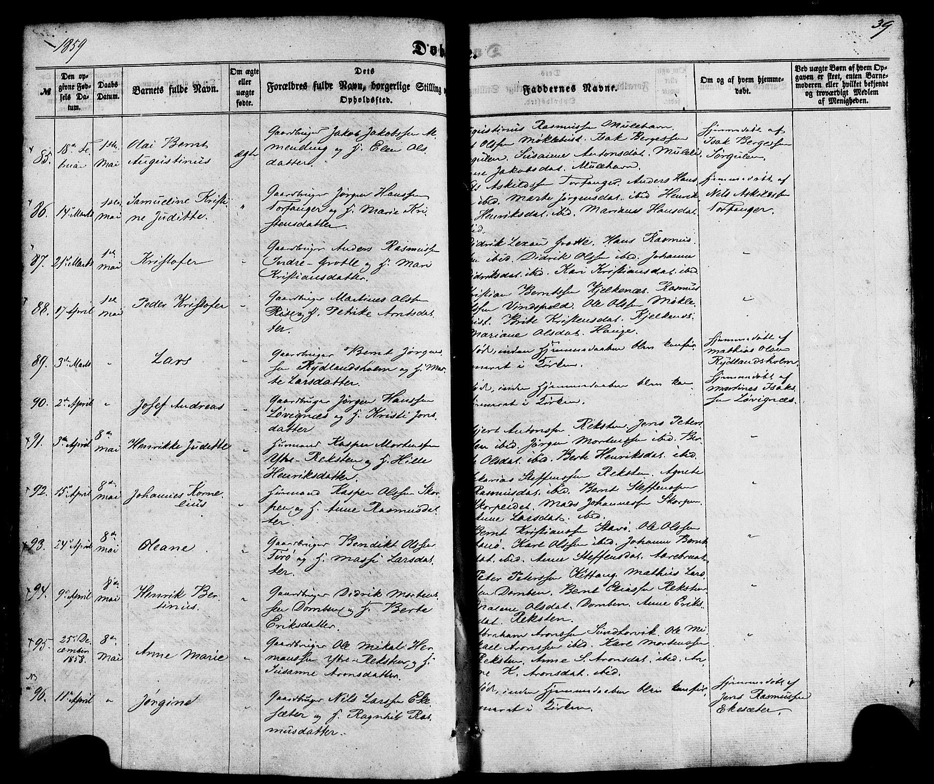 SAB, Kinn Sokneprestembete, Ministerialbok nr. A 6, 1857-1885, s. 39