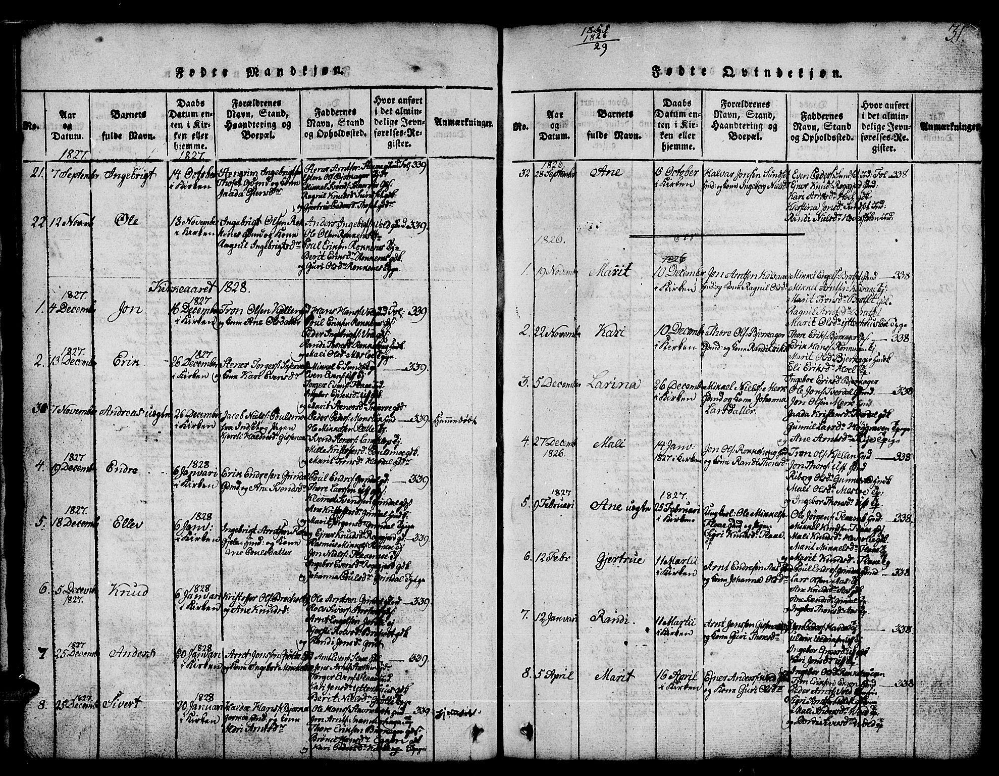 SAT, Ministerialprotokoller, klokkerbøker og fødselsregistre - Sør-Trøndelag, 674/L0874: Klokkerbok nr. 674C01, 1816-1860, s. 31